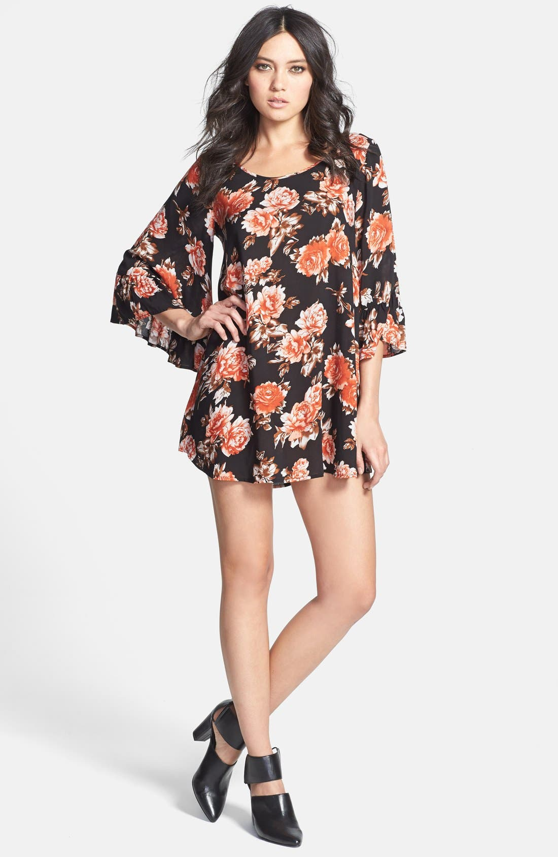 Main Image - JOA Floral Bell Sleeve Dress