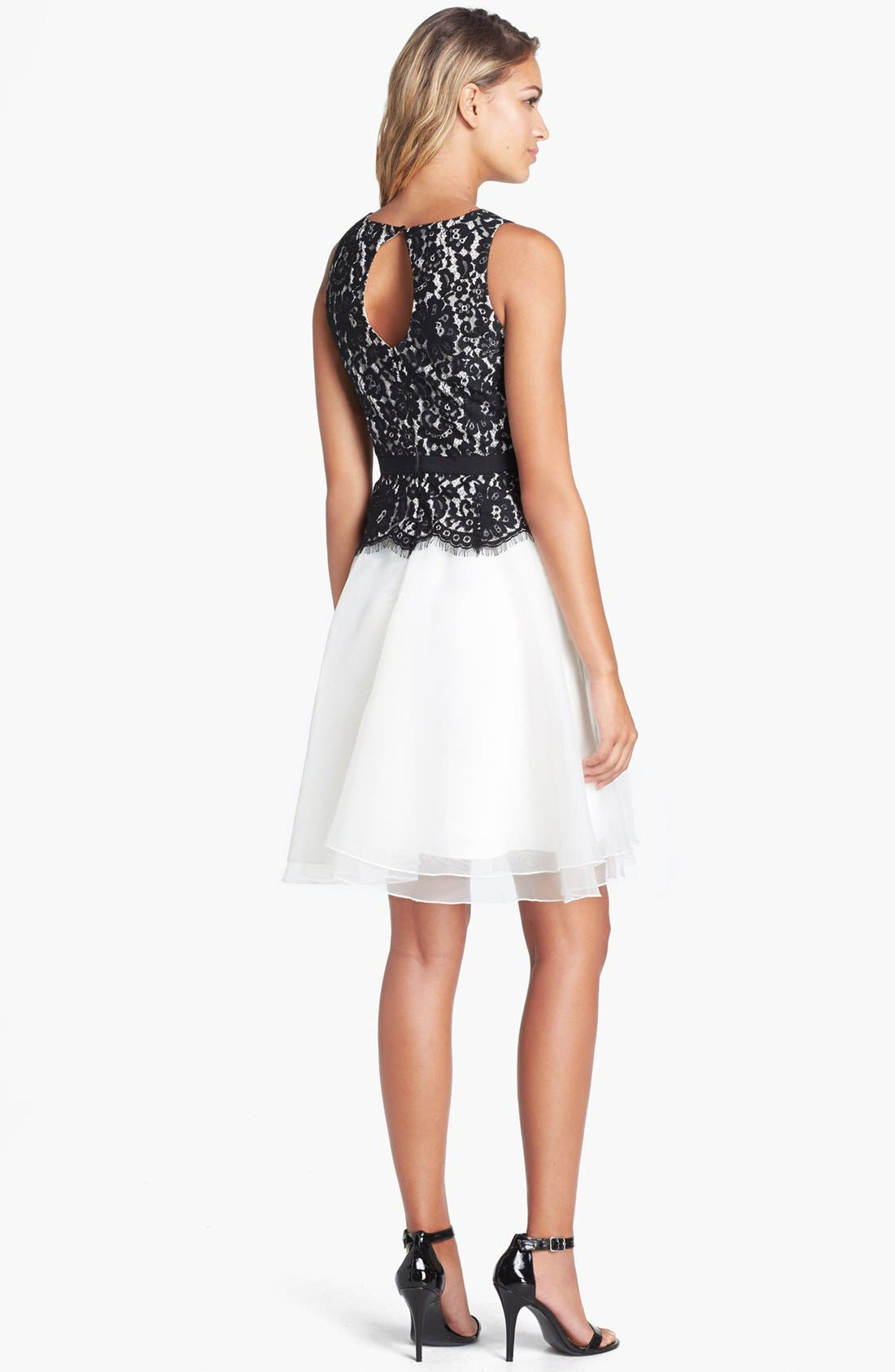 Alternate Image 2  - Eliza J Lace Bodice Fit & Flare Dress (Petite)