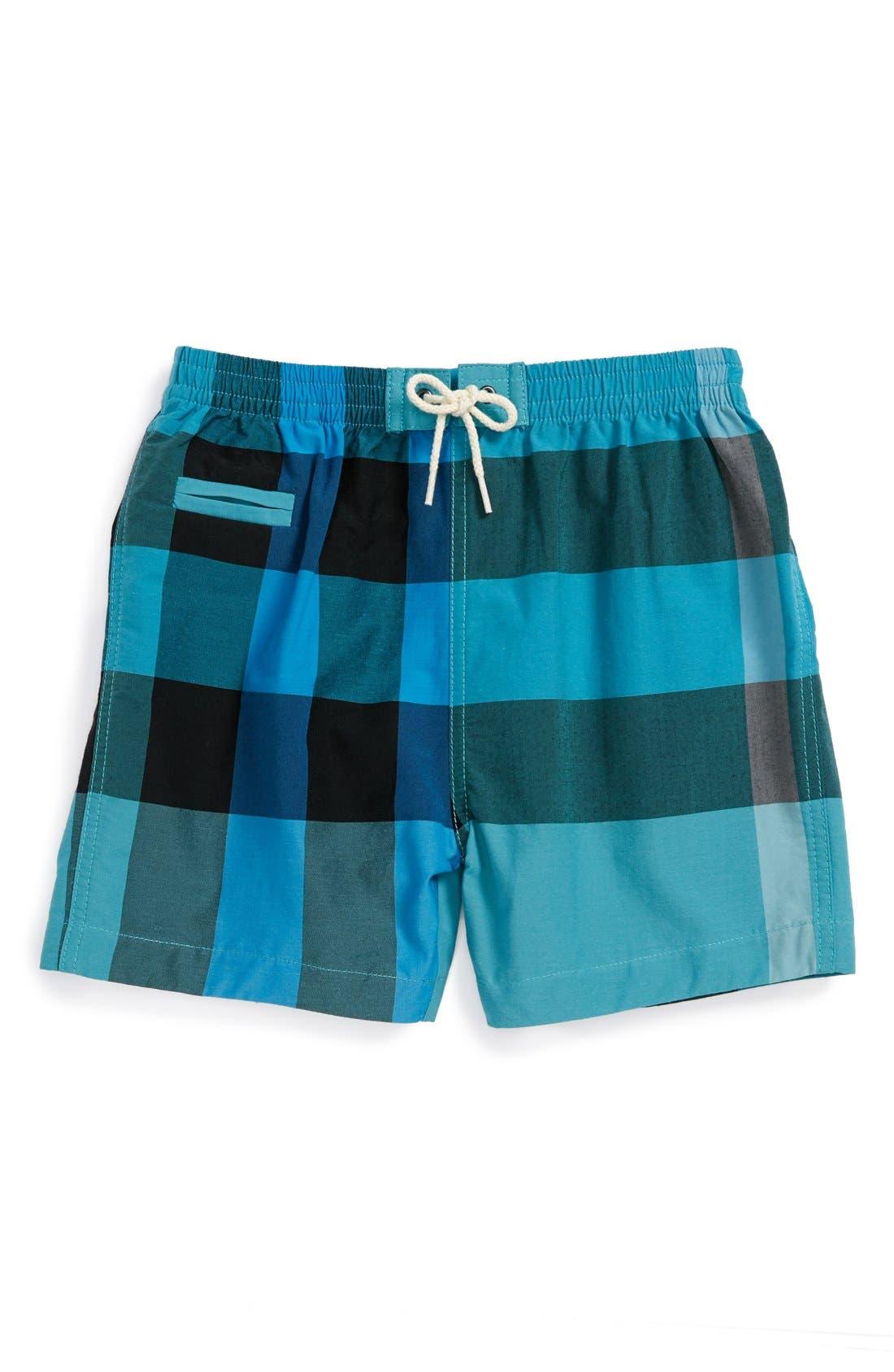 Main Image - Burberry Check Print Swim Shorts (Baby Boys)