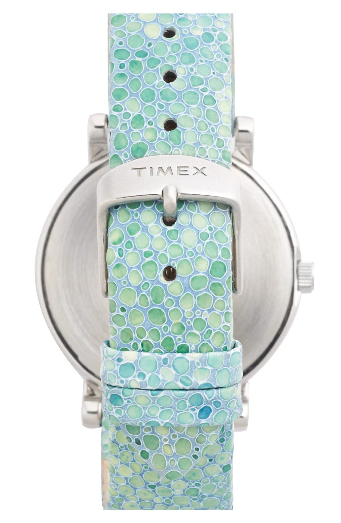 Alternate Image 2  - Timex® Round Pebbled Leather Strap Watch, 38mm