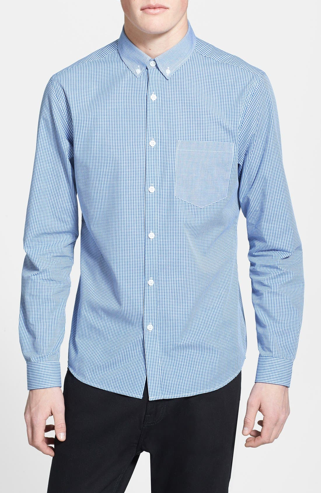 Alternate Image 1 Selected - Topman Slim Fit Chambray Trimmed Gingham Shirt
