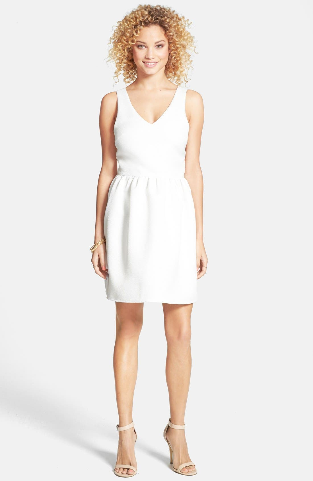 Alternate Image 1 Selected - Everly Embossed Fit & Flare Dress (Juniors)