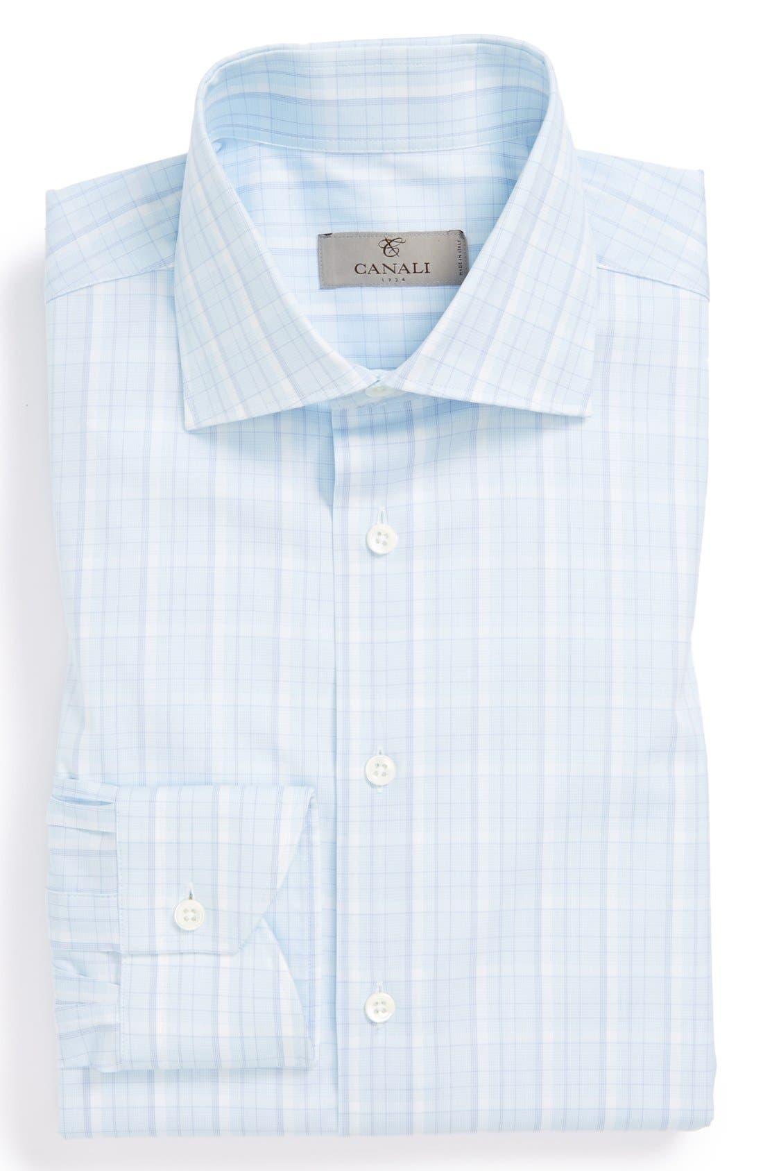 Main Image - Canali Poplin Graph Check Regular Fit Dress Shirt