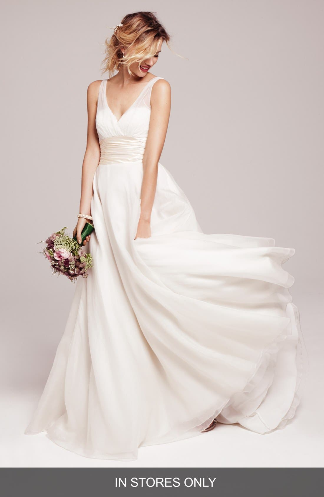 Main Image - Anne Barge Satin Cummerbund Silk Dress (In Stores Only)