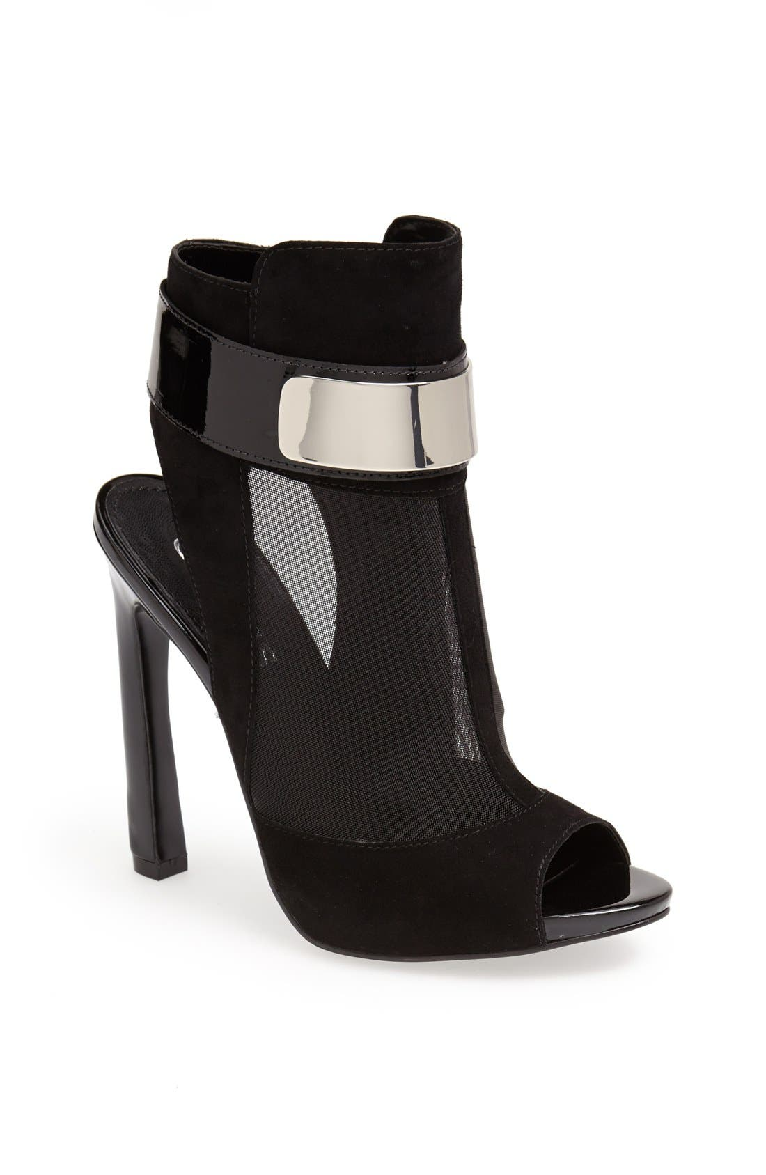 Alternate Image 1 Selected - GUESS 'Anavey' Suede & Mesh Peep Toe Bootie