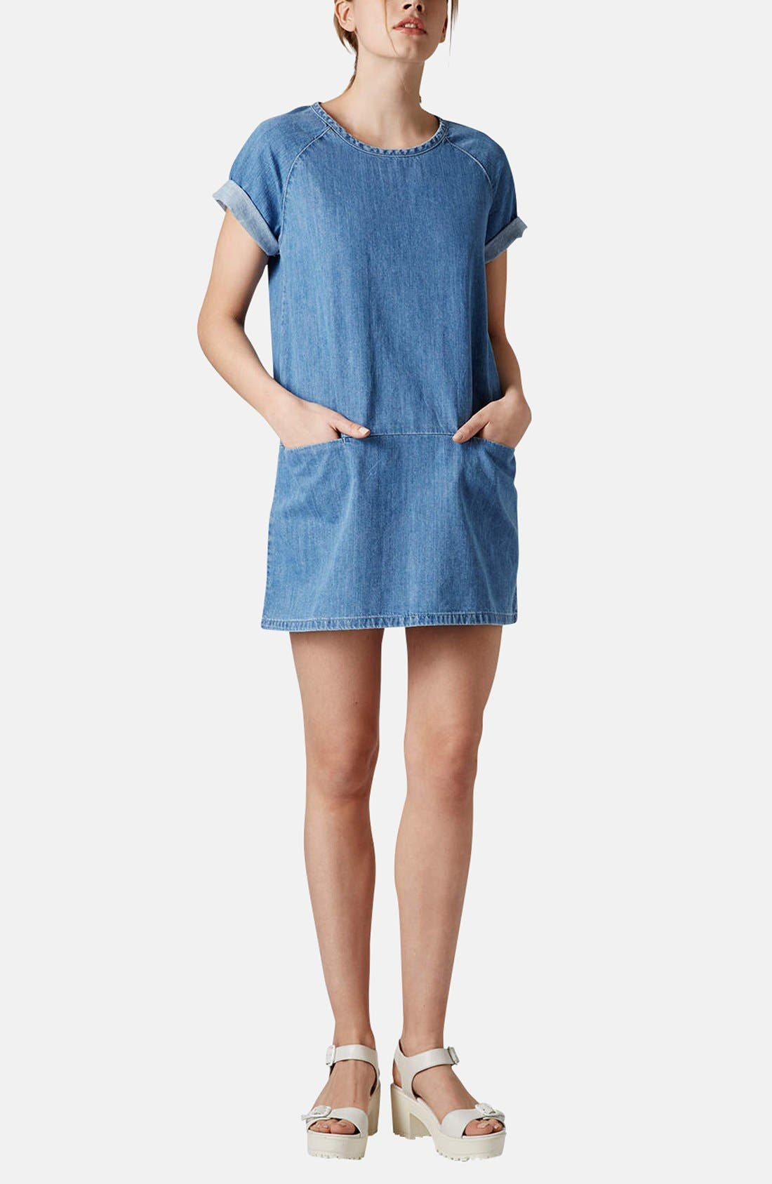 Alternate Image 5  - Topshop Moto Denim T-Shirt Dress (Petite)