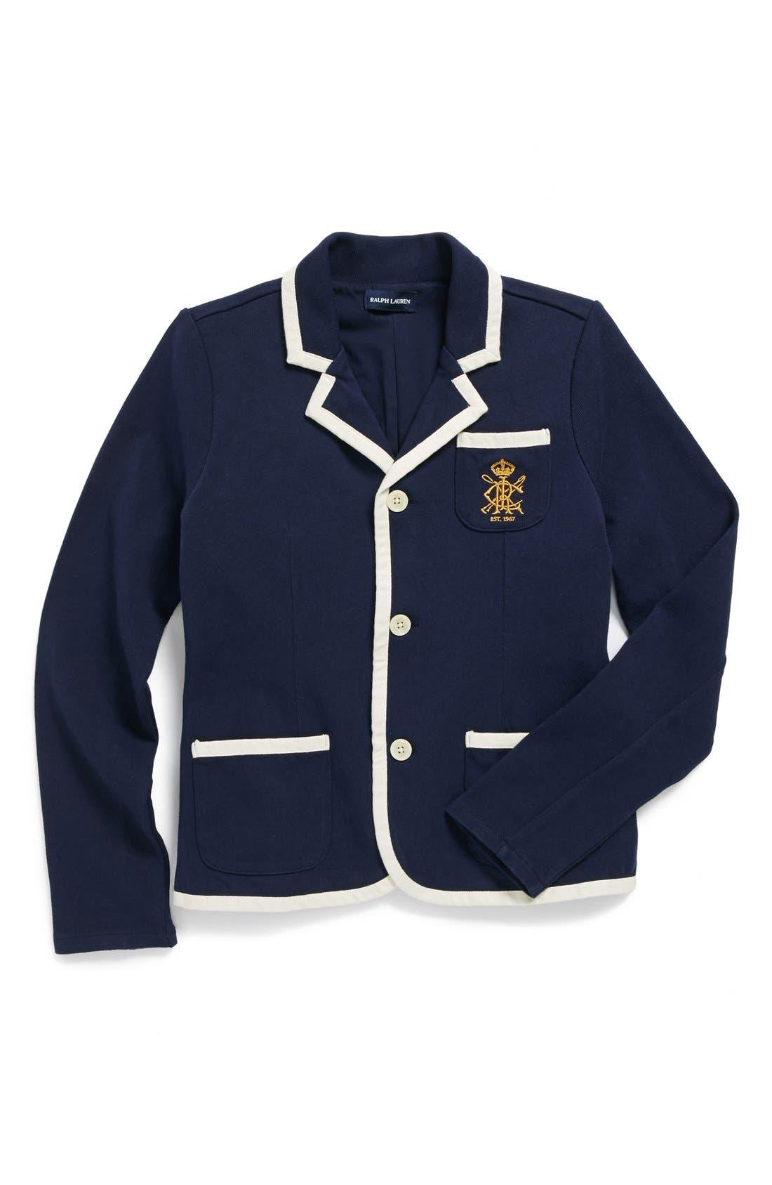 Alternate Image 1 Selected - Ralph Lauren Knit Jersey Blazer (Big Girls)