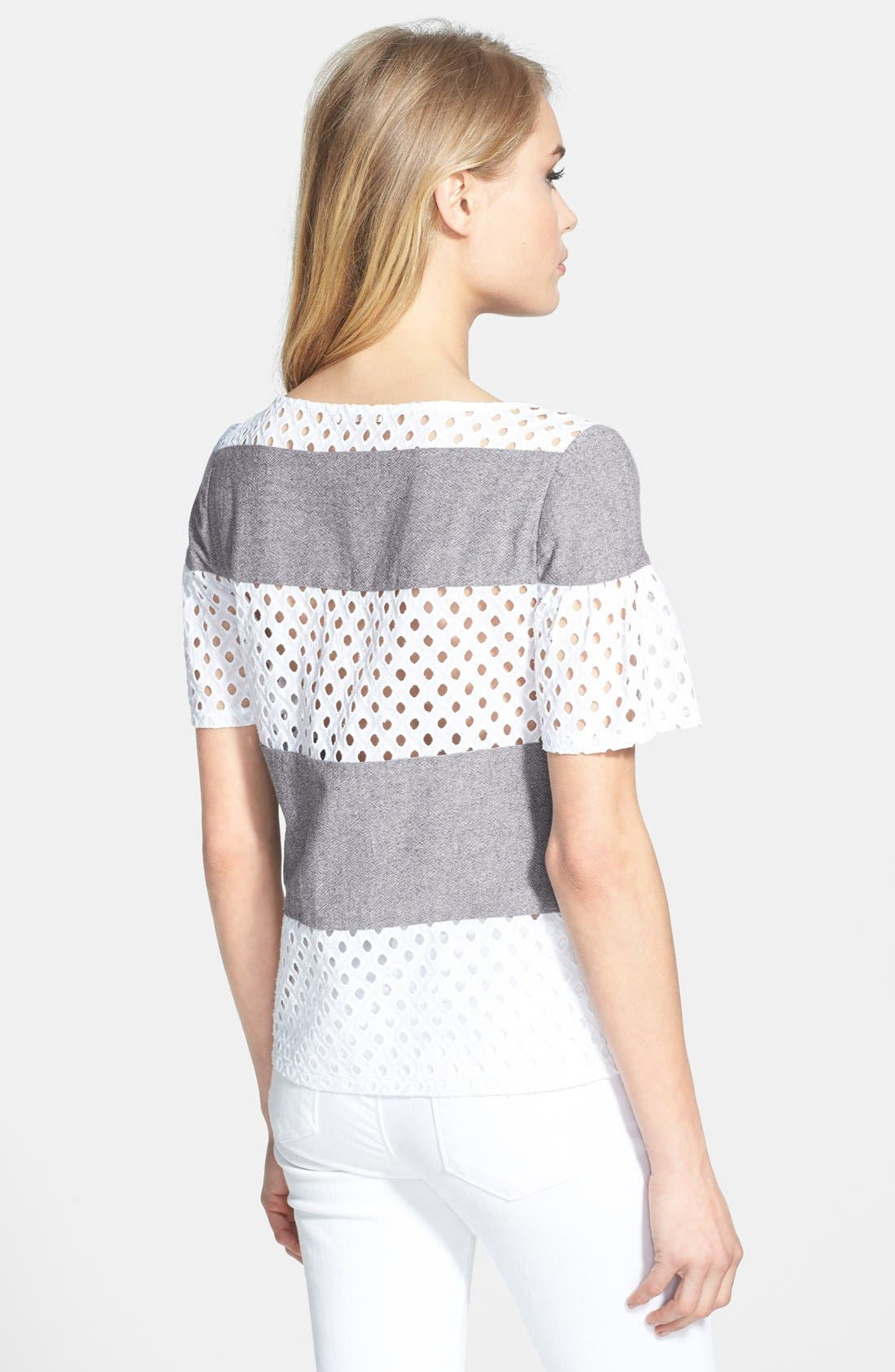 Alternate Image 2  - Ella Moss 'Tessa' Eyelet & Chambray Top