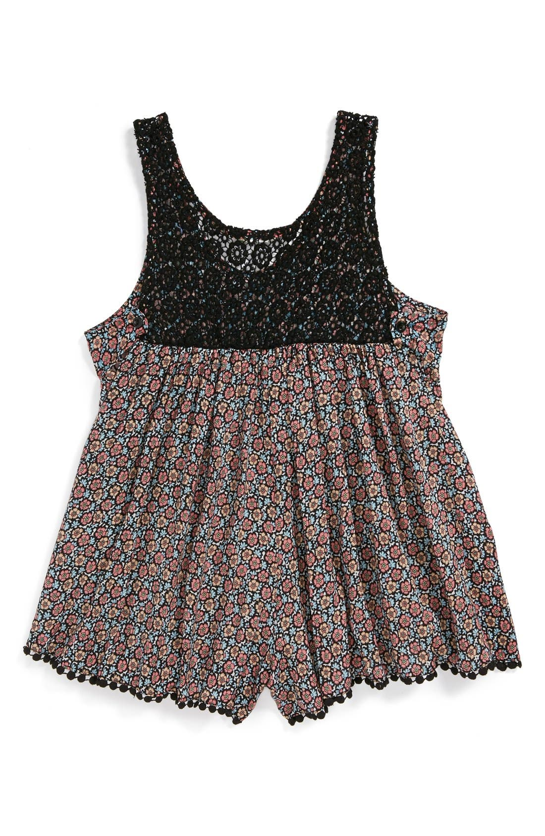 Alternate Image 2  - Kiddo Crochet Back Romper (Big Girls)
