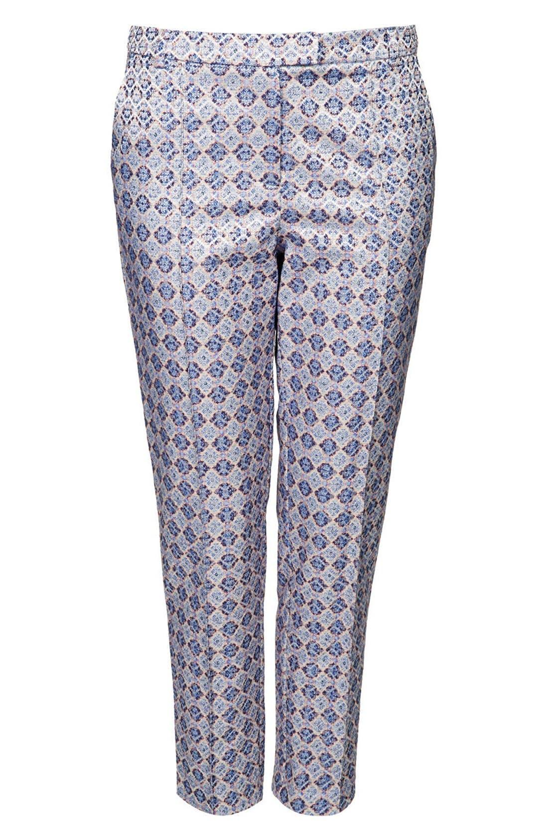 Alternate Image 3  - Topshop 'Folk Tile' Crop Jacquard Trousers