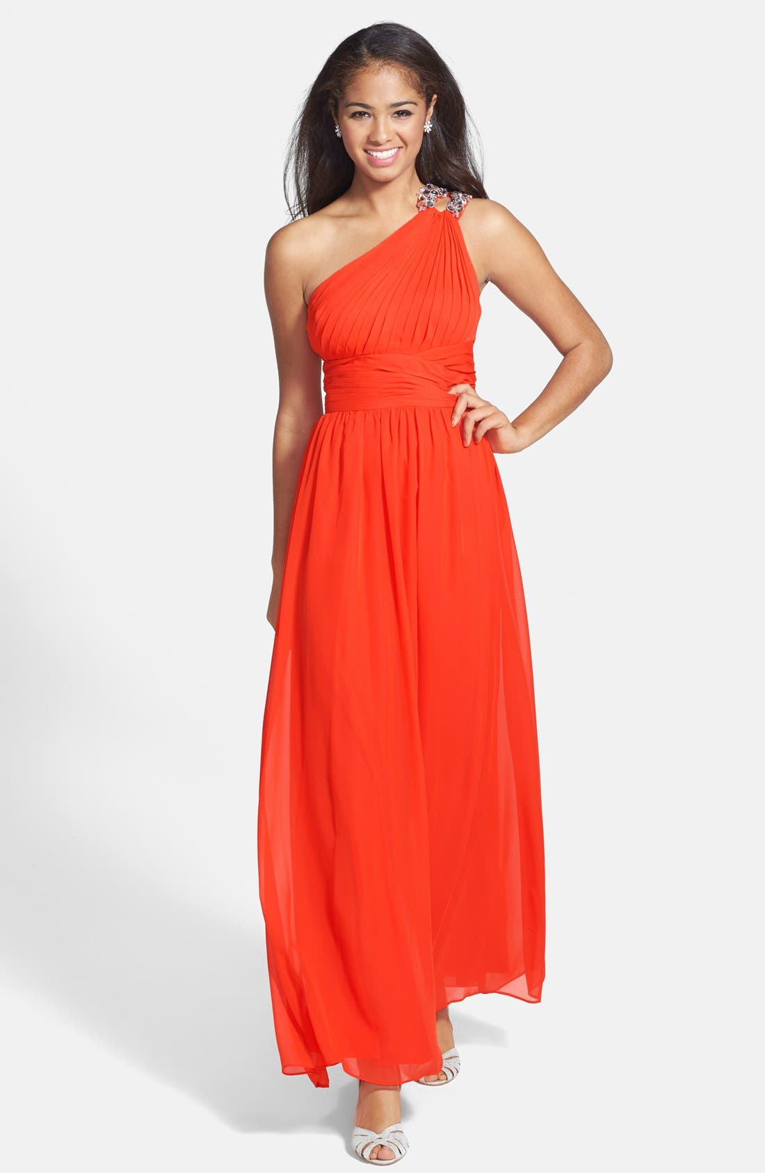 Main Image - Hailey by Adrianna Papell Beaded One-Shoulder Chiffon Gown