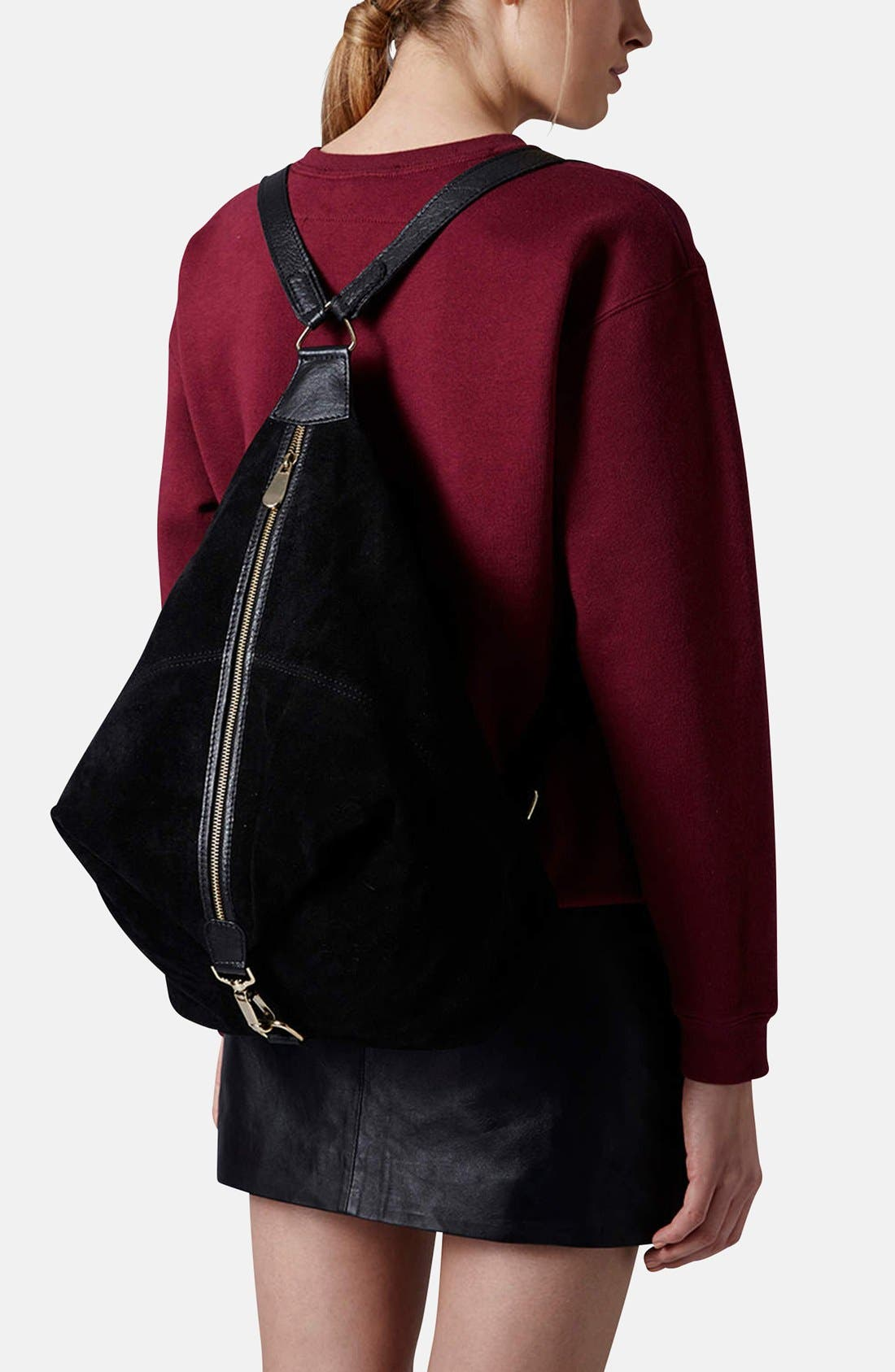 Alternate Image 2  - Topshop Clipped Suede Backpack