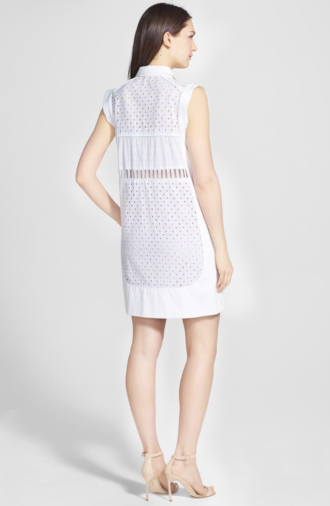 Alternate Image 2  - Rebecca Taylor Sleeveless Cotton Eyelet Shirtdress