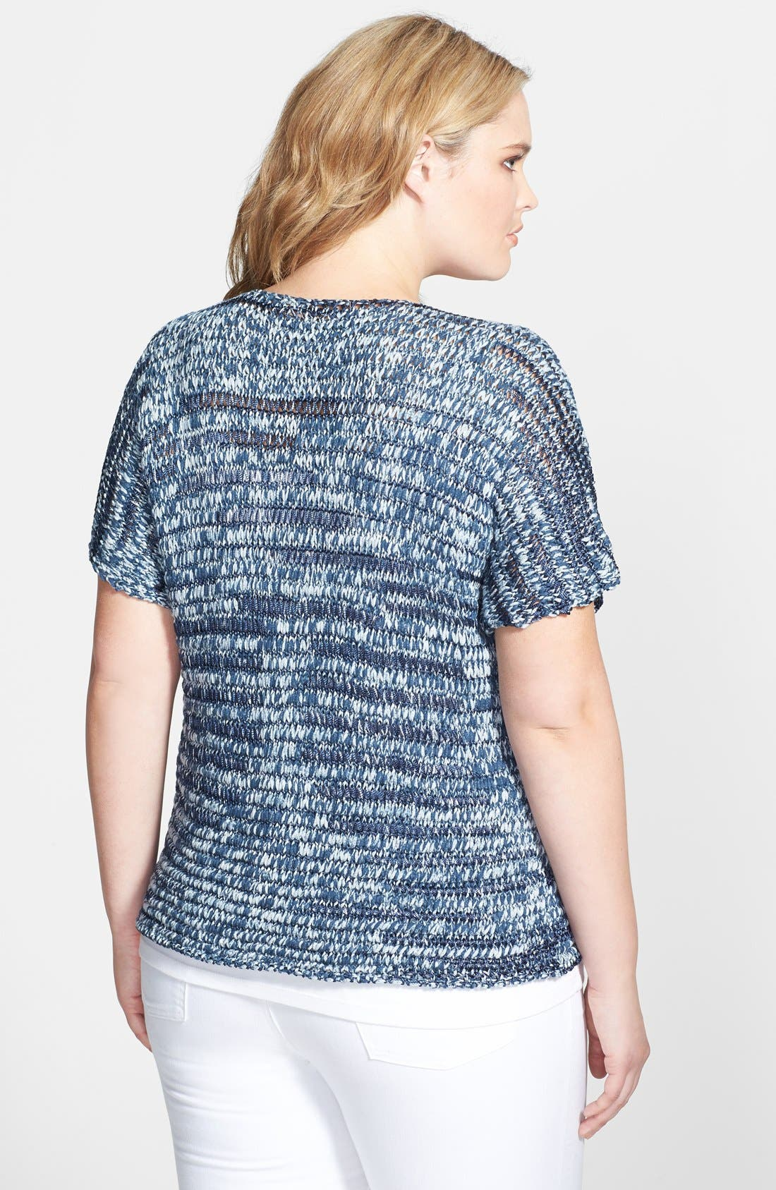 Alternate Image 2  - Eileen Fisher V-Neck  Short Sleeve Cotton Blend Shaped Top (Plus Size)