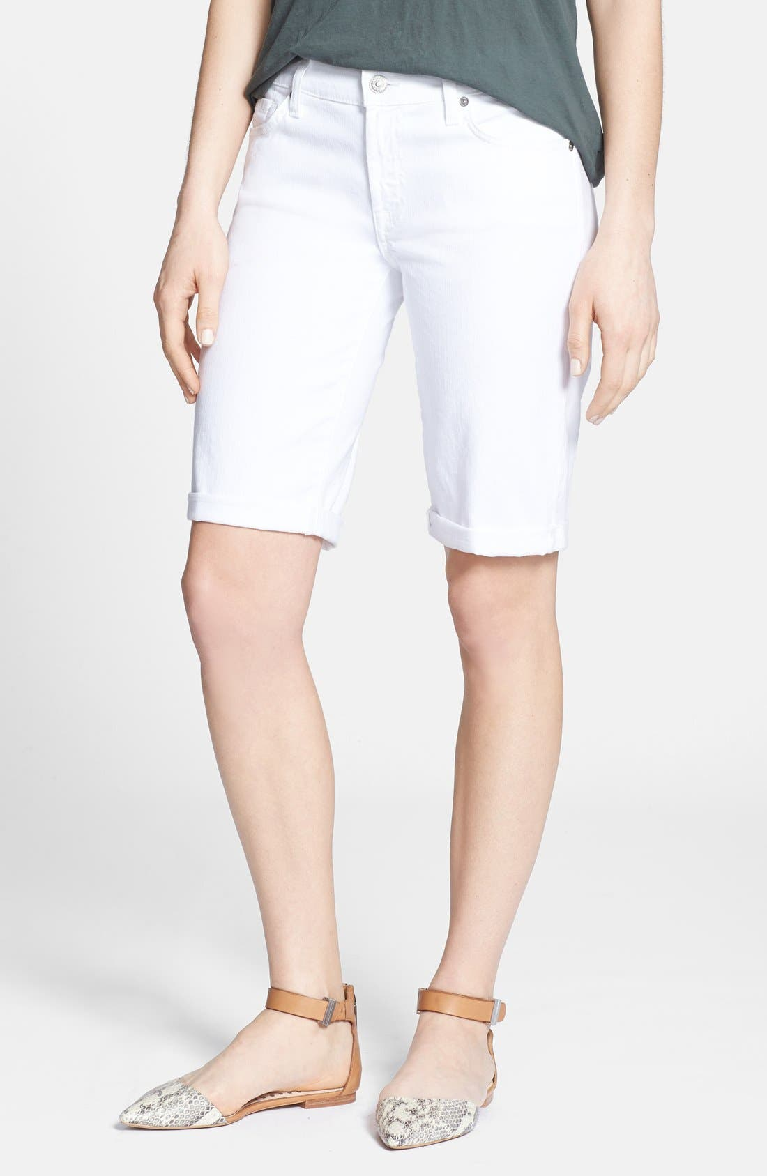 Alternate Image 1 Selected - 7 For All Mankind® Denim Bermuda Shorts (Clean White)