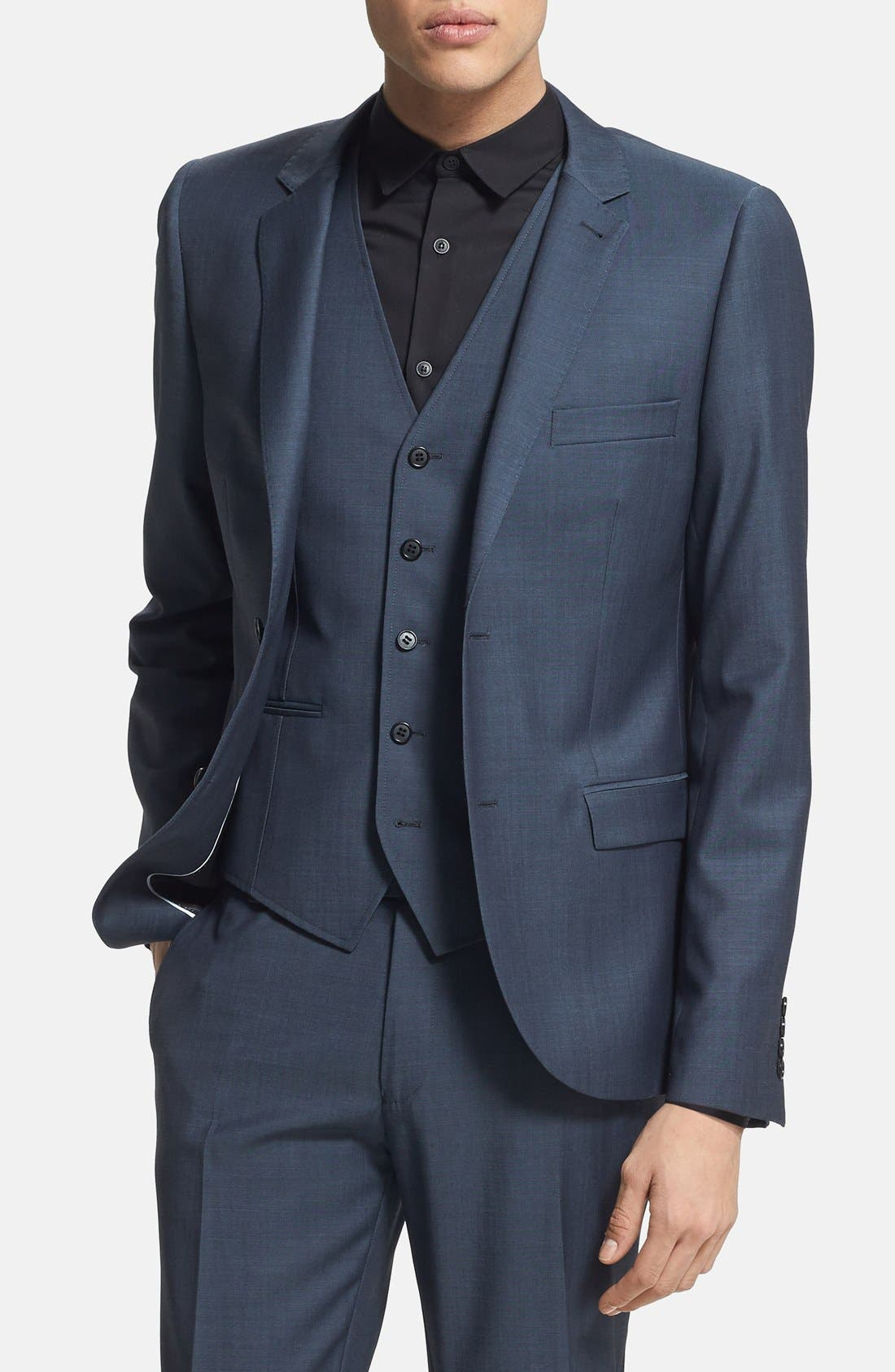 Alternate Image 1 Selected - Topman Skinny Fit Navy Suit Jacket