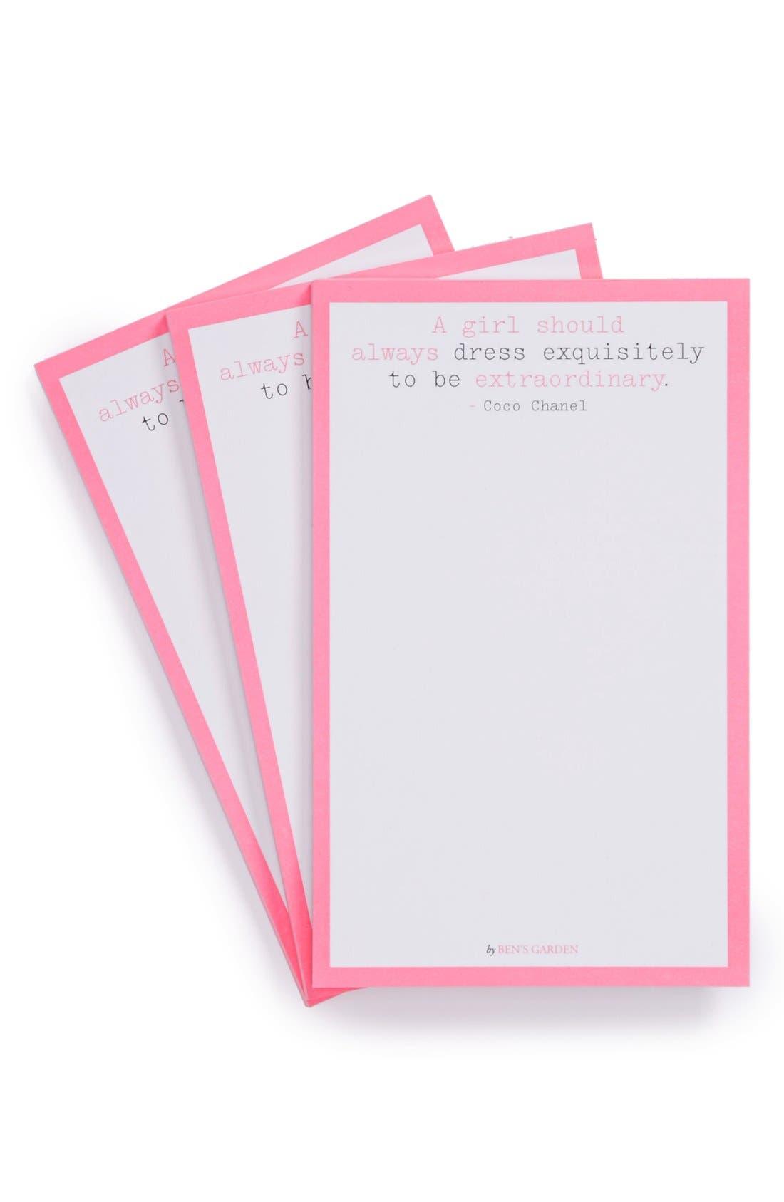 Alternate Image 1 Selected - Ben's Garden 'A Girl Should Always Dress' Scribble™ Notepads (3-Pack)