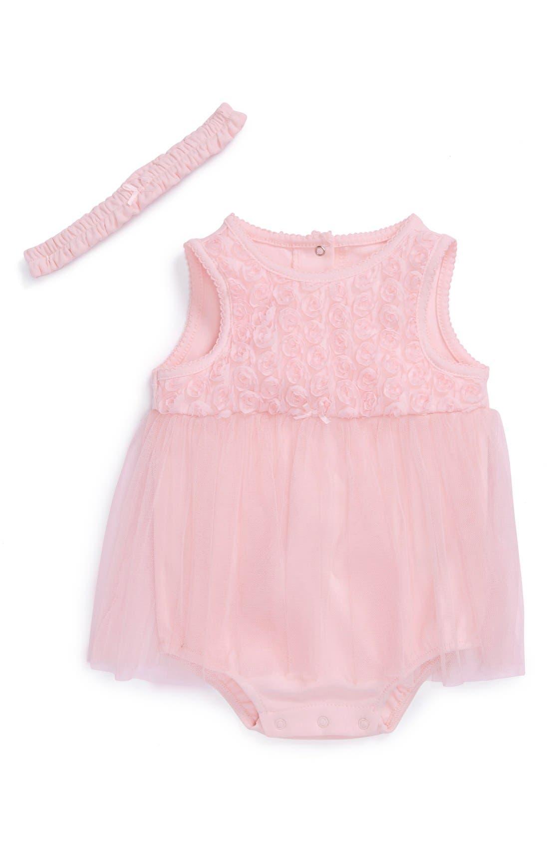 Main Image - Little Me 'Rose Tutu' Bodysuit & Headband (Baby Girls)