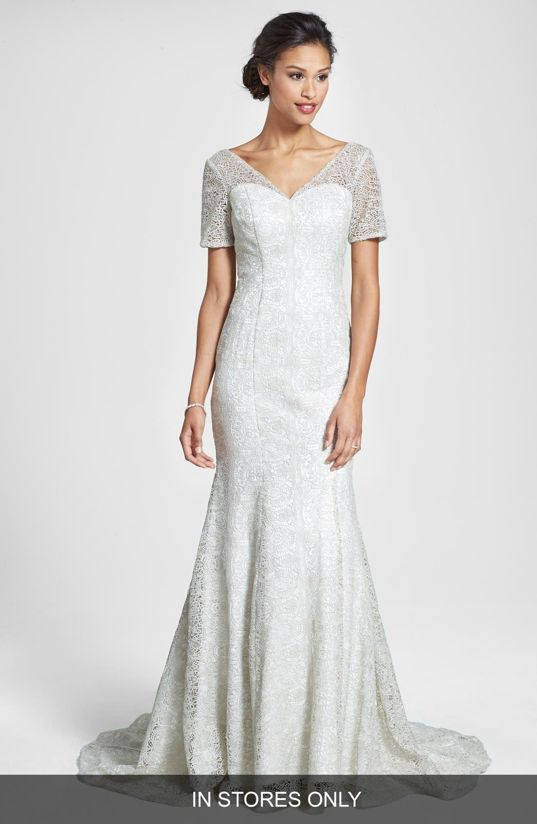 Main Image - Olia Zavozina 'Ivy' Metallic Lace Trumpet Gown (In Stores Only)