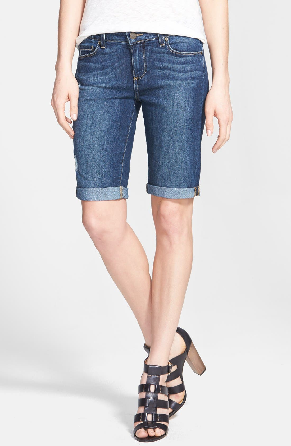 Main Image - Paige Denim 'Jax' Cuffed Denim Knee Shorts (Luca)