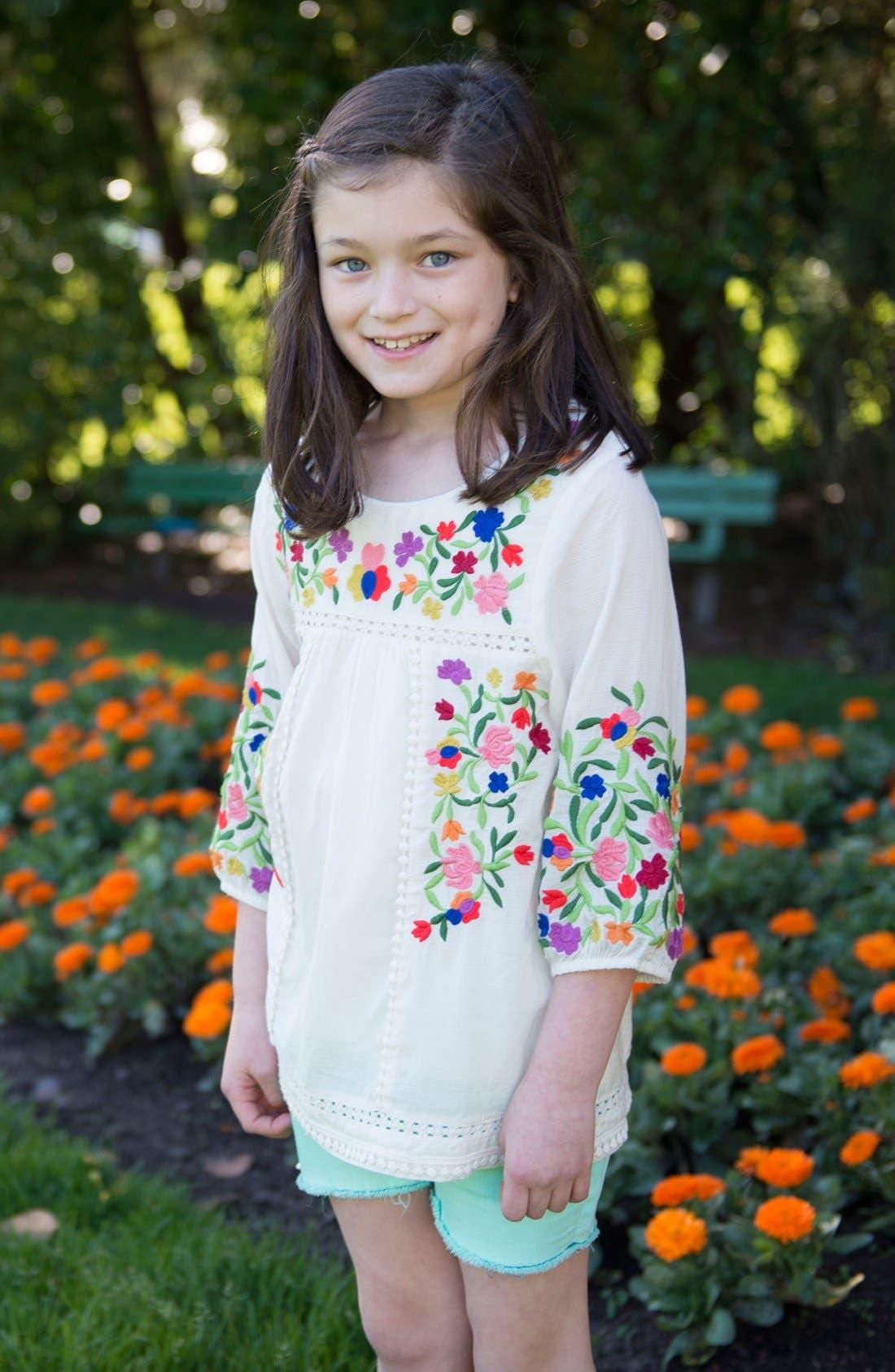 Alternate Image 2  - Peek 'Marin' Embroidered Peasant Top (Toddler Girls, Little Girls & Big Girls)