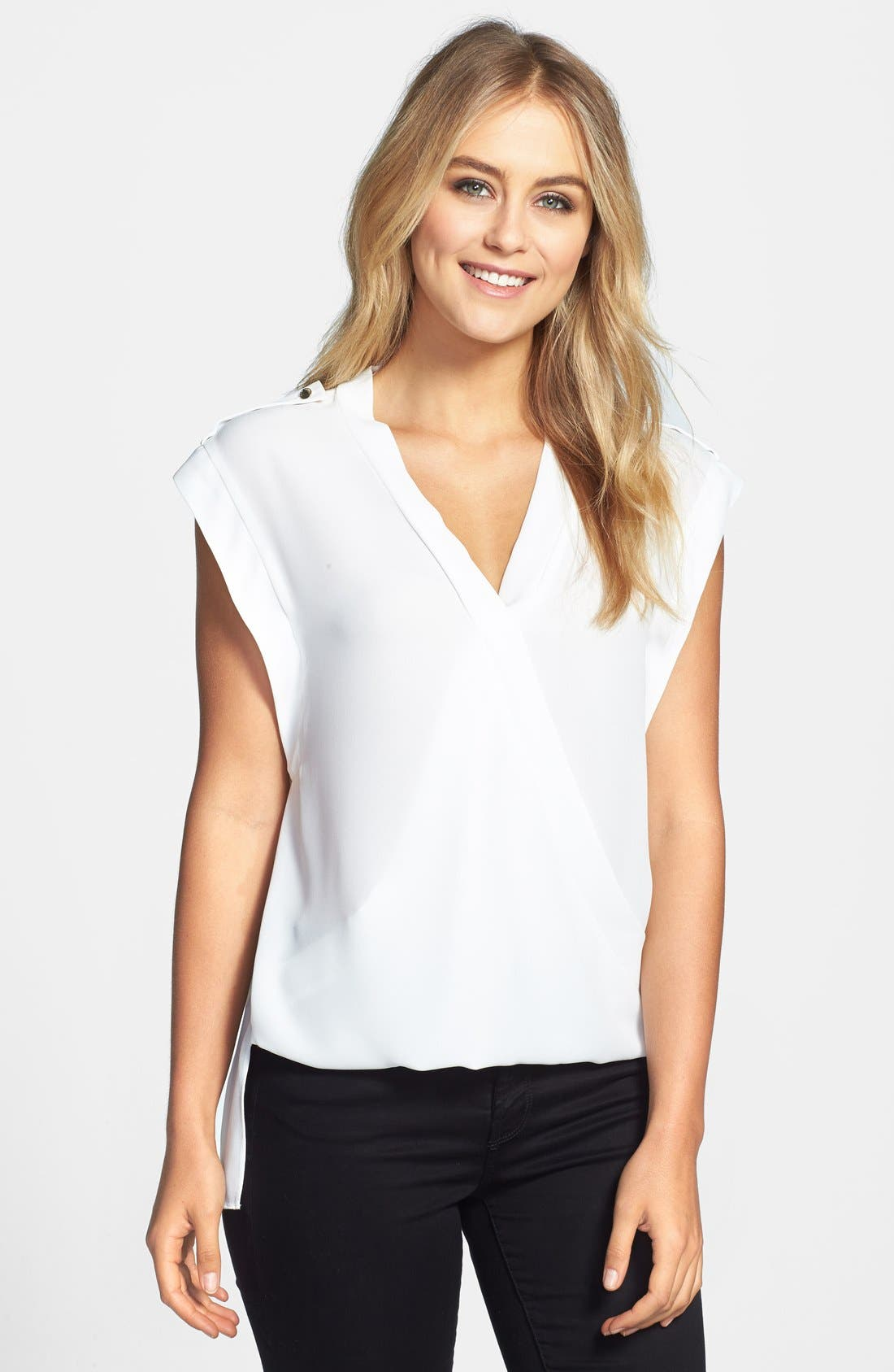 Alternate Image 1 Selected - Vince Camuto Faux Wrap Front Shirttail Blouse