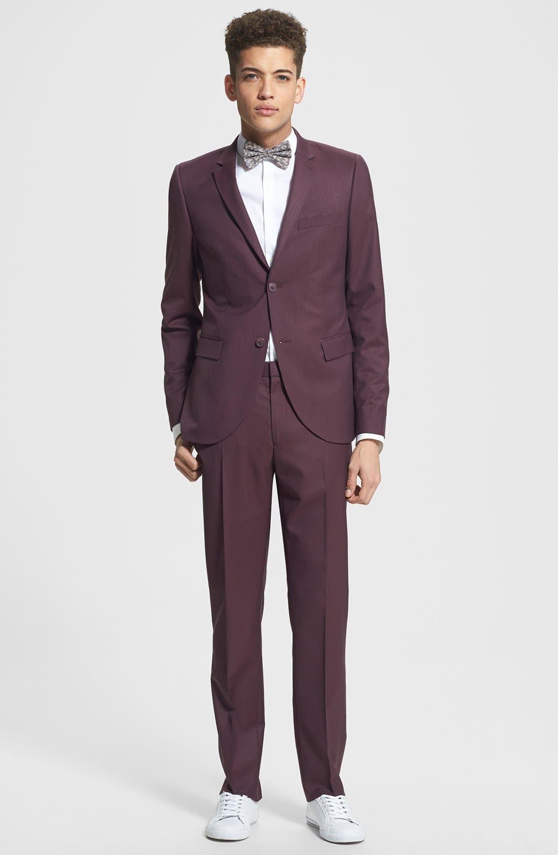 Alternate Image 3  - Topman Skinny Fit Burgundy Suit Jacket
