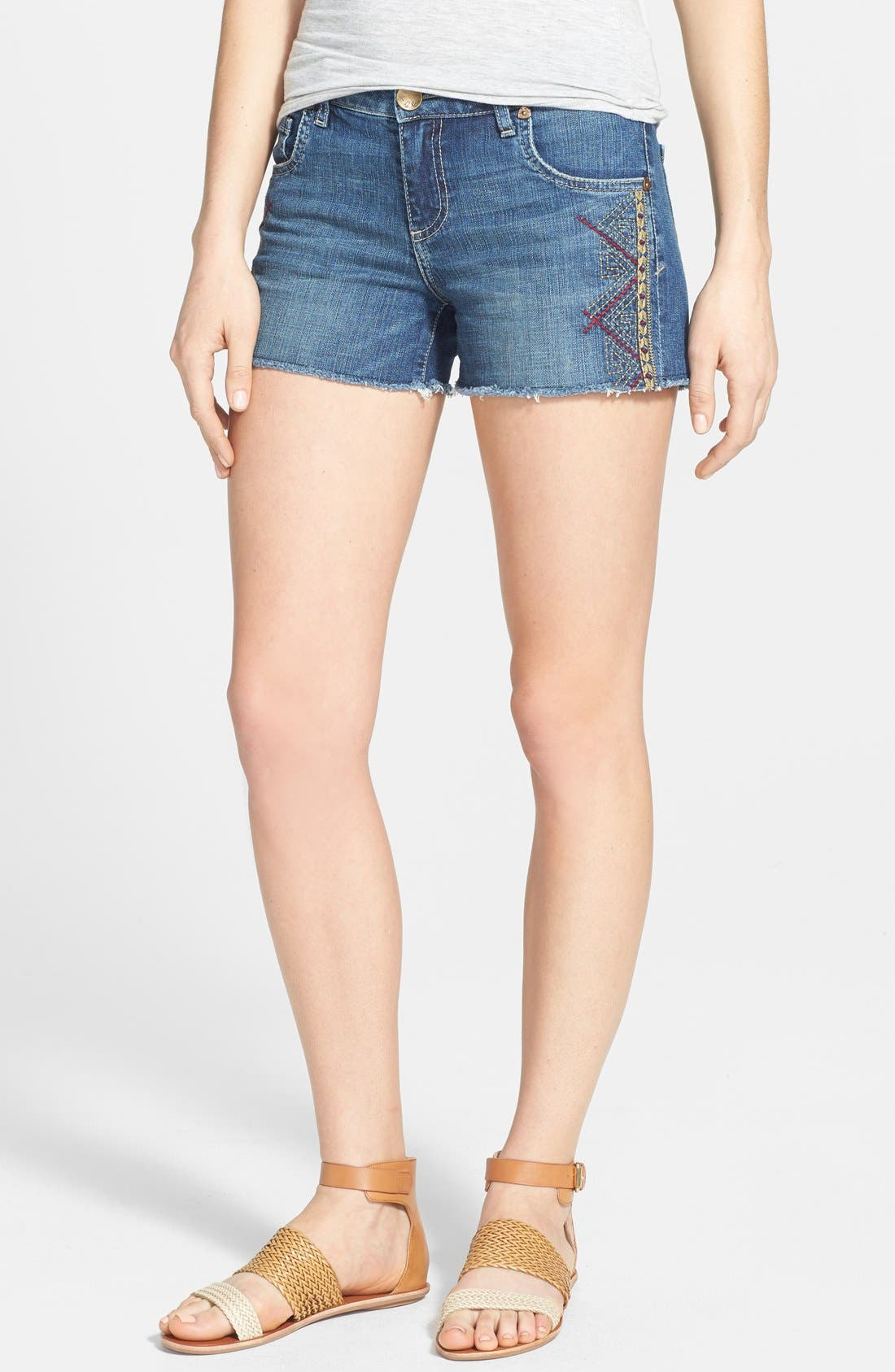 Main Image - KUT from the Kloth Embroidered Cutoff Denim Shorts