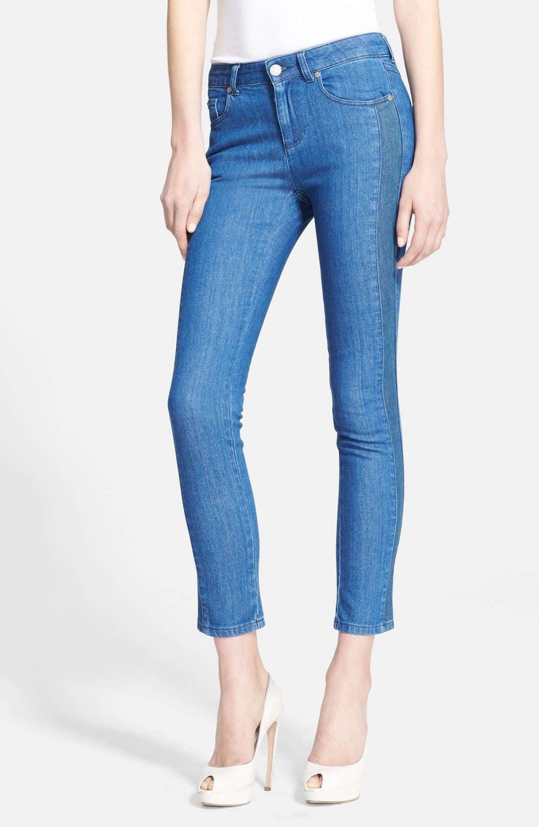Alternate Image 1 Selected - Alexander McQueen Tuxedo Stripe Crop Skinny Jeans