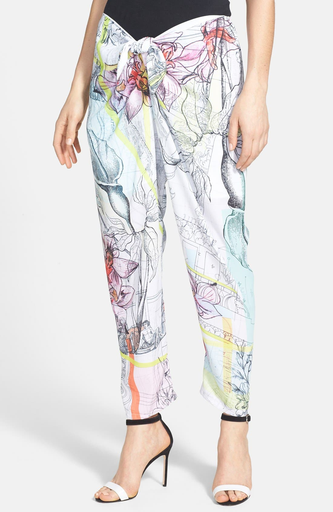 Alternate Image 1 Selected - Clover Canyon 'Floral Line Drawing' Print Tie Waist Pants