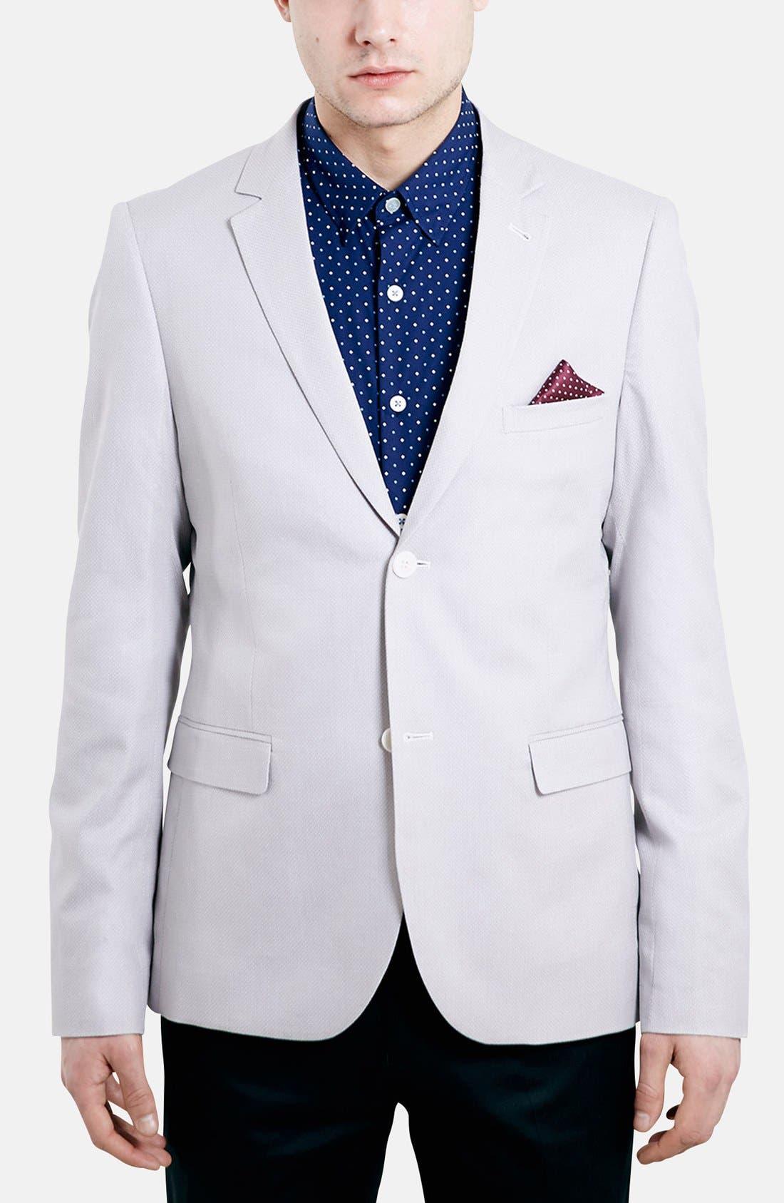 Alternate Image 1 Selected - Topman Skinny Fit Pattern Cotton Blazer