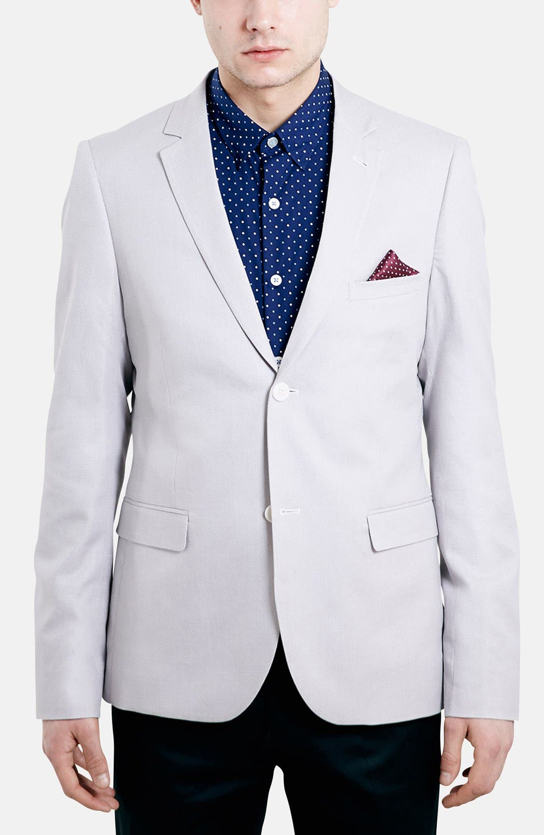 Main Image - Topman Skinny Fit Pattern Cotton Blazer