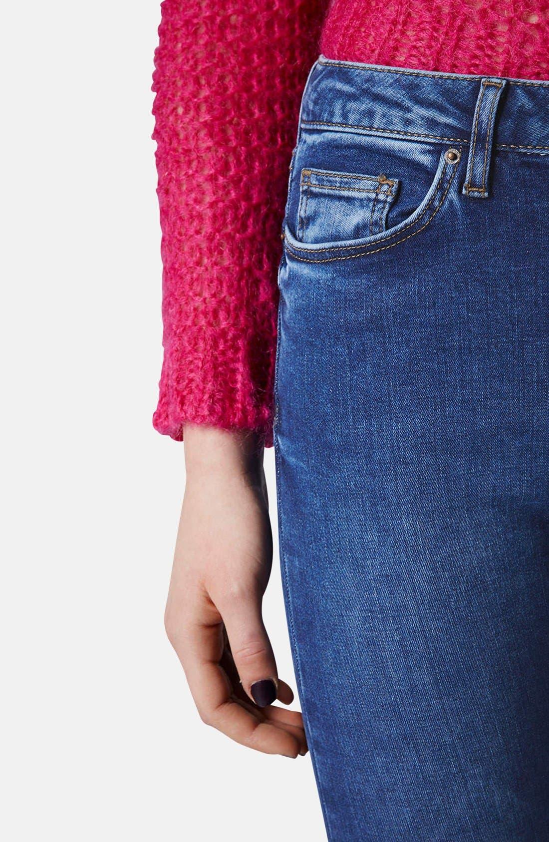 Alternate Image 4  - Topshop Moto 'Jamie' High Rise Skinny Ankle Jeans (Blue) (Regular & Short)