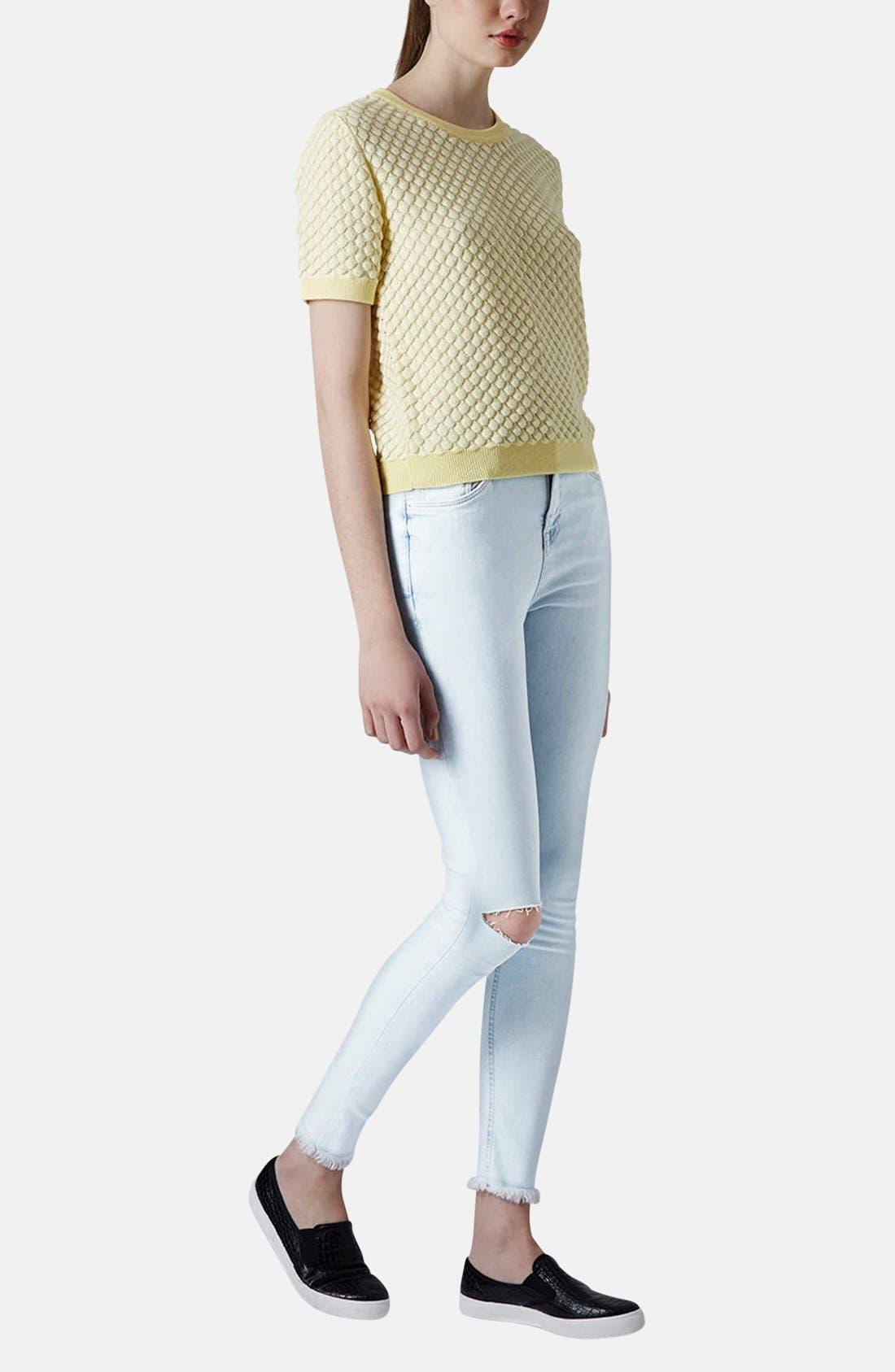 Alternate Image 5  - Topshop Moto 'Jamie' High Rise Skinny Jeans (Light Blue) (Regular & Short)