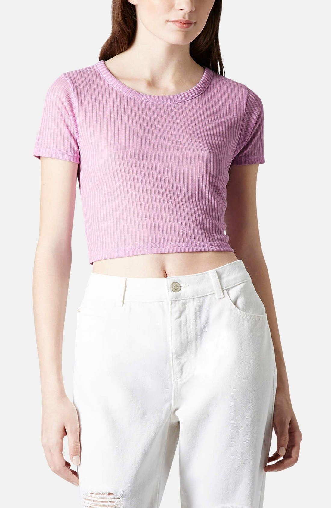 Main Image - Topshop Ribbed Crop Tee