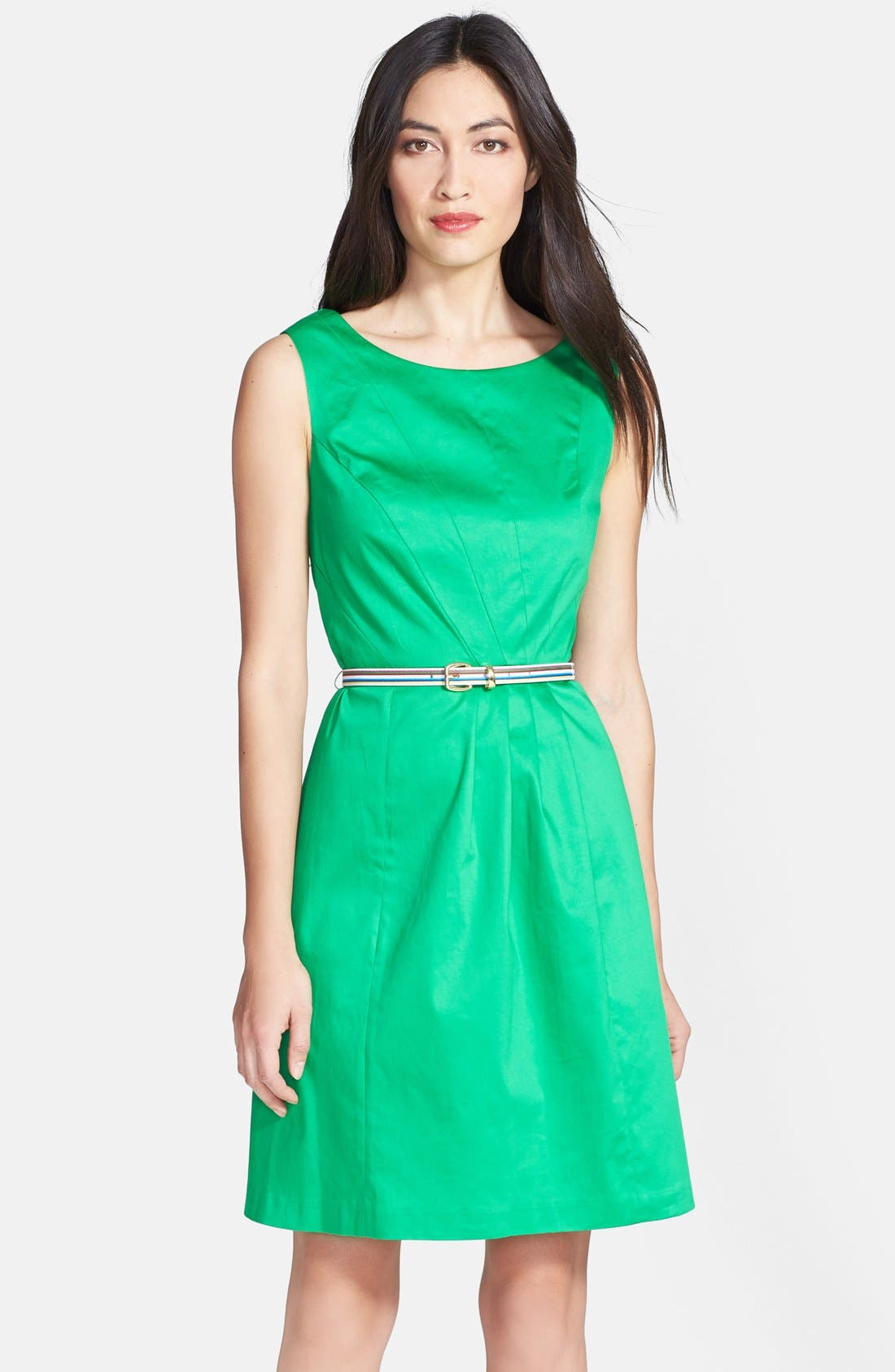 Main Image - Ellen Tracy Sleeveless Origami Pleat Stretch Cotton Fit & Flare Dress