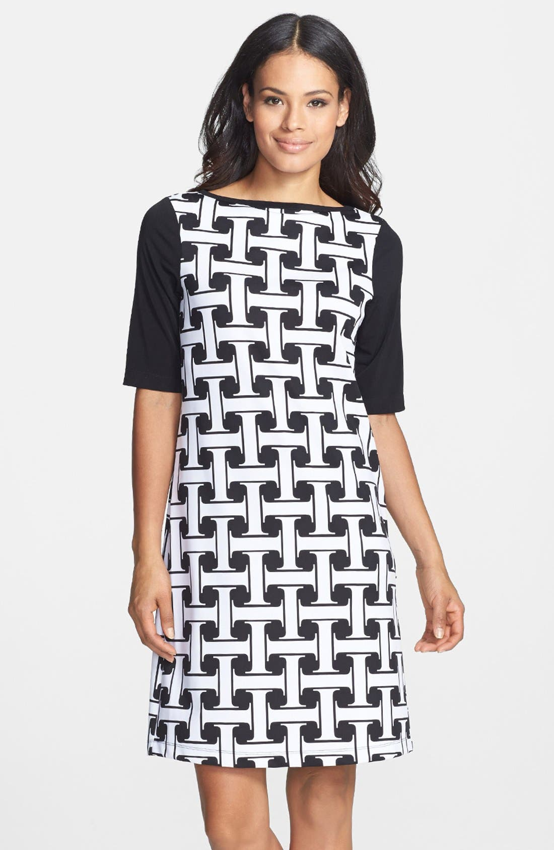Main Image - Isaac Mizrahi New York Print Stretch Jersey Shift Dress
