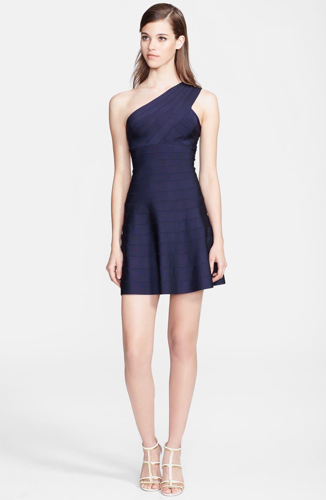 Main Image - Herve Leger One-Shoulder A-Line Dress