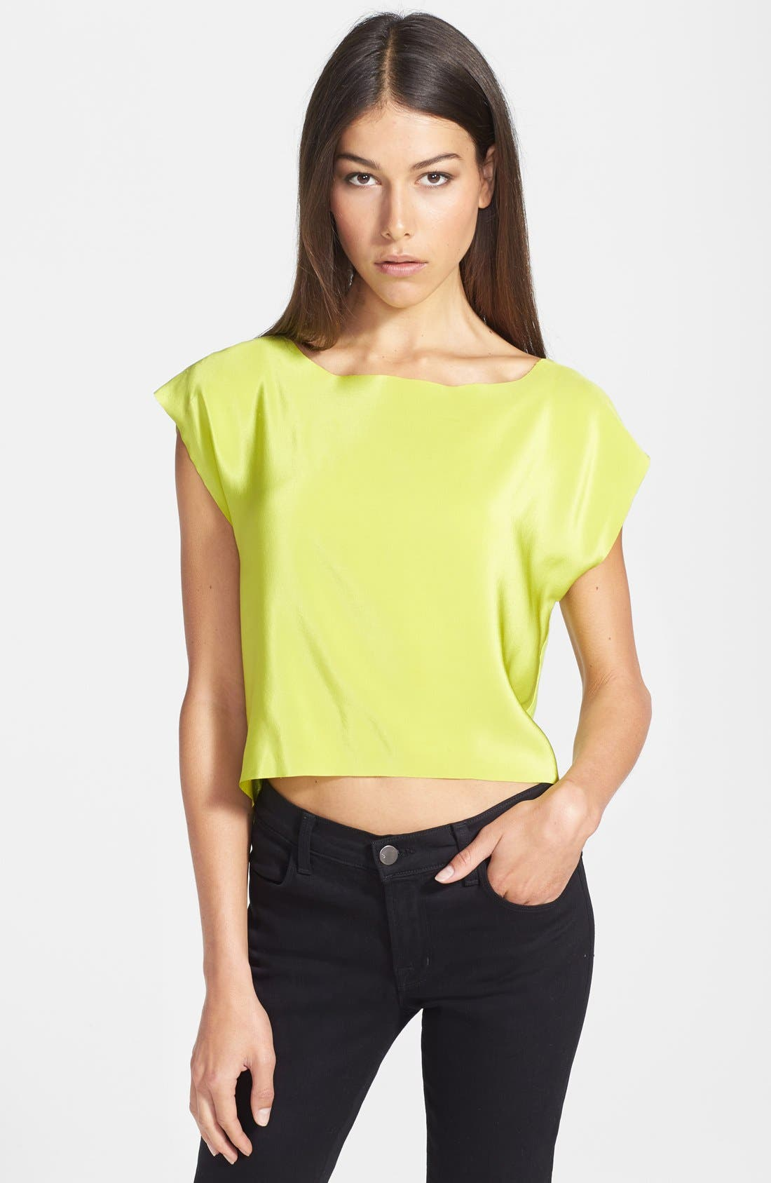 Alternate Image 1 Selected - Bailey 44 'Third Rail' Silk Front Crop Top