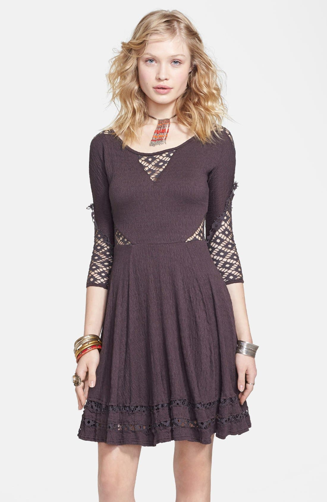 Alternate Image 1 Selected - Free People 'To the Point' Lace Inset Crinkled Fit & Flare Dress