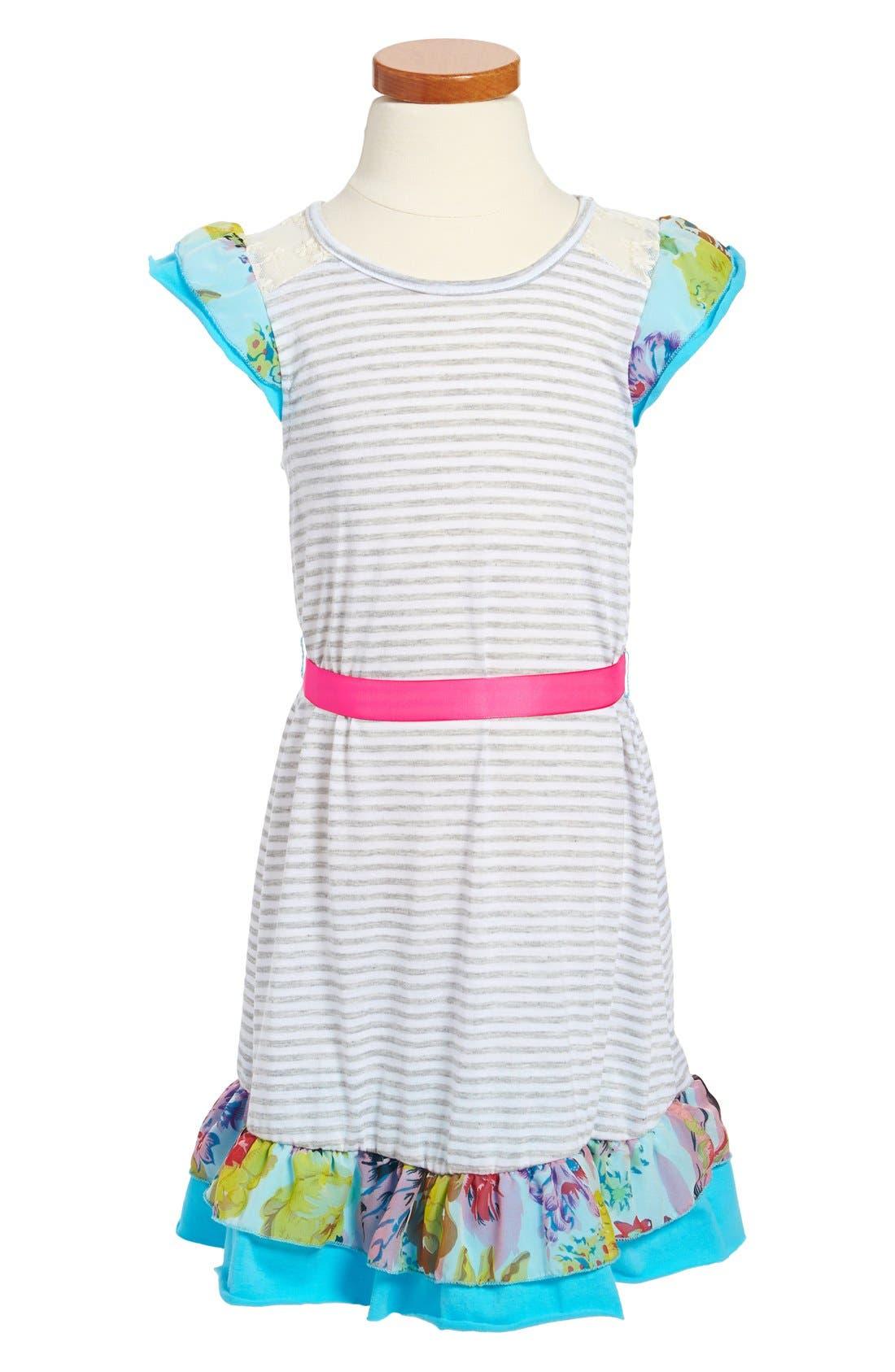 Main Image - Ella and Lulu Flutter Sleeve Dress (Little Girls & Big Girls)