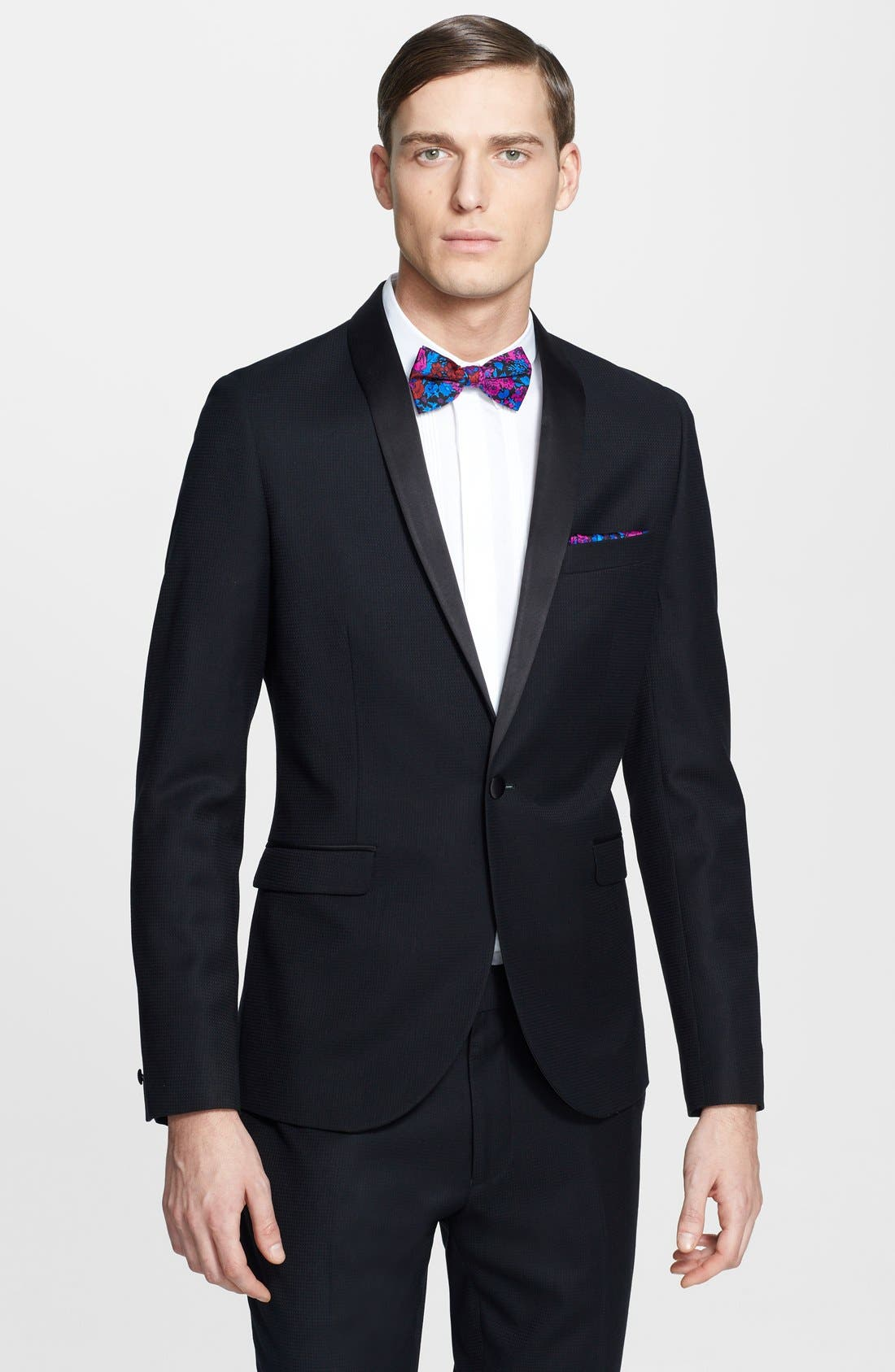 Alternate Image 1 Selected - Topman Skinny Fit Jacquard Tuxedo Jacket