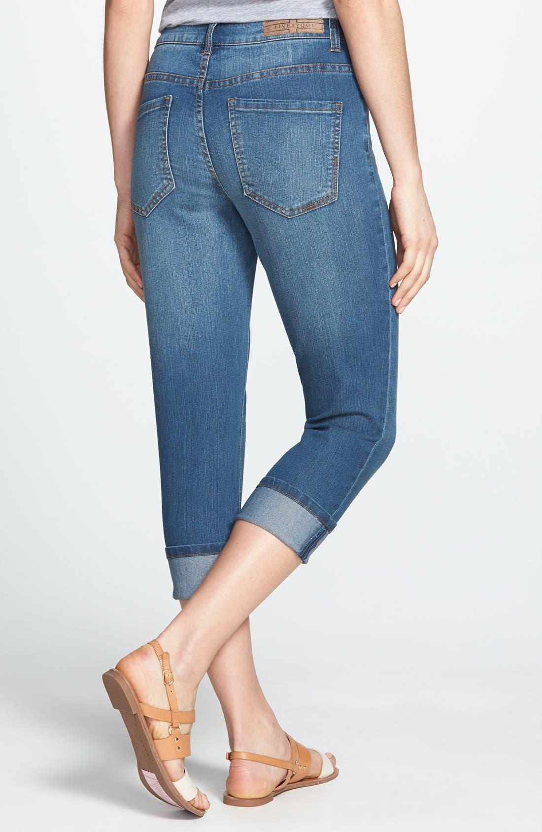 Alternate Image 2  - Liverpool Jeans Company 'Michelle' Cuffed Stretch Capri Jeans