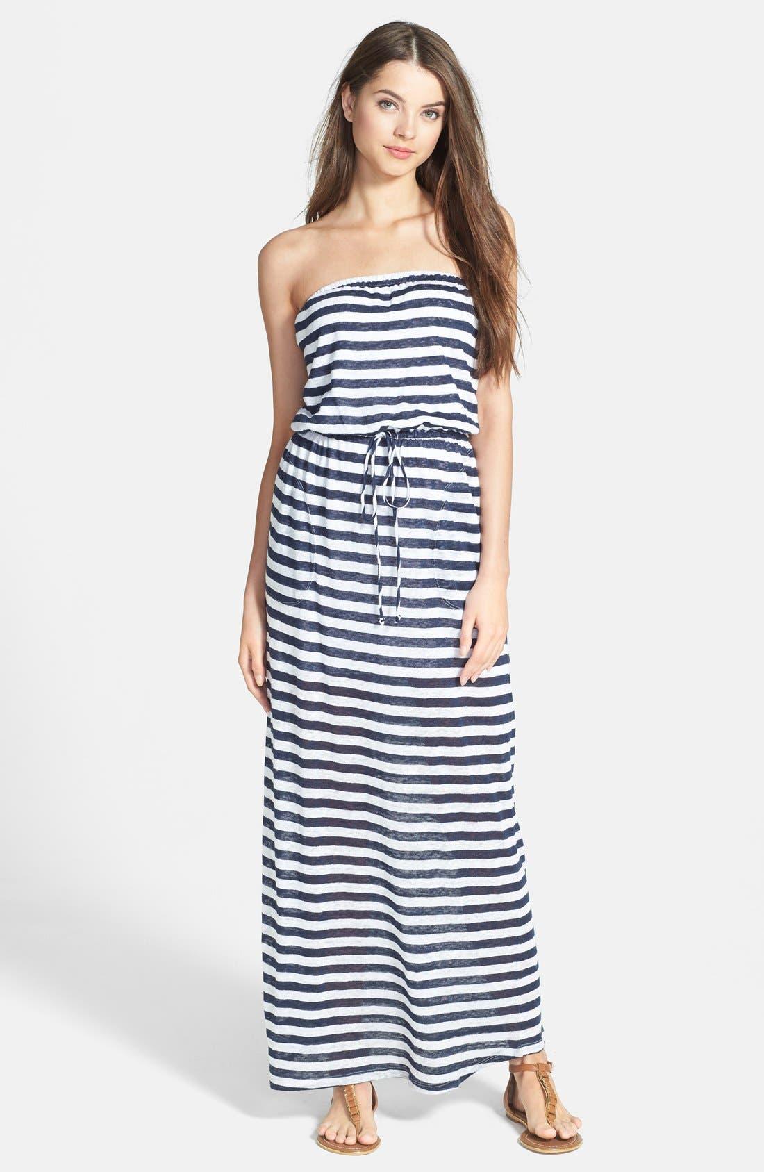 Main Image - C & C California Stripe Linen Jersey Maxi Dress