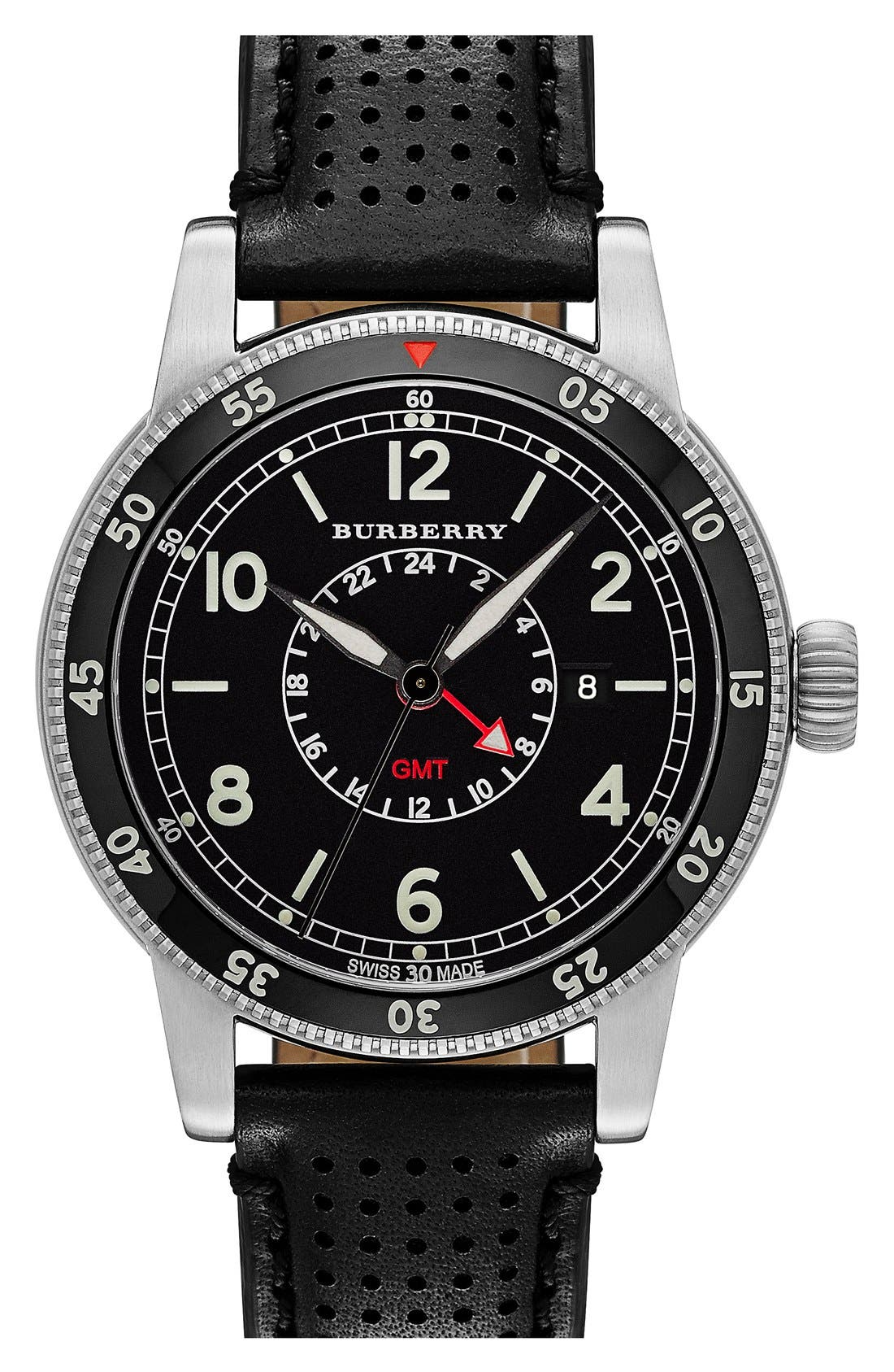 Alternate Image 1 Selected - Burberry 'Utilitarian' Round Perforated Leather Strap Watch, 42mm