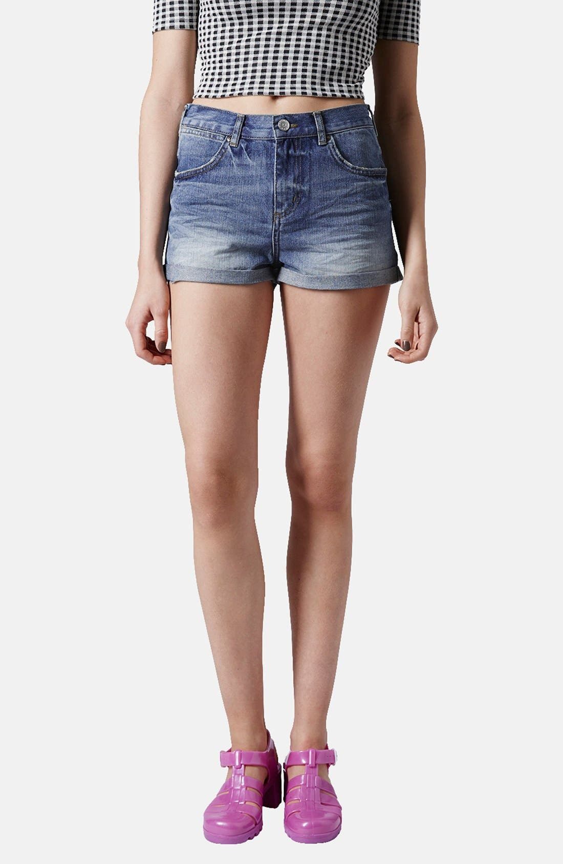 Alternate Image 1 Selected - Topshop 'Rosa' High Rise Denim Shorts (Mid) (Petite)