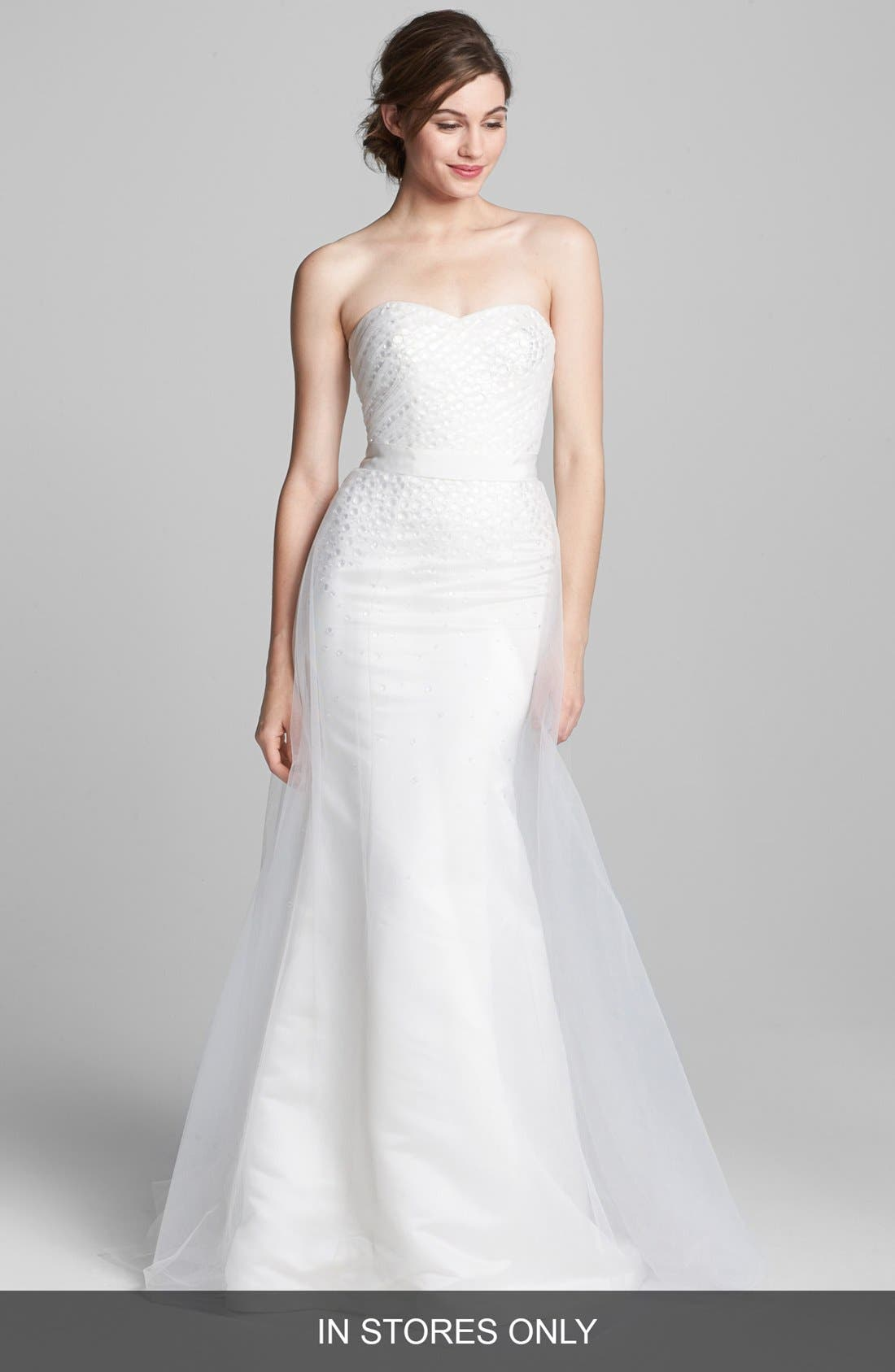 Main Image - Kelly Faetanini 'Becky' Embellished Tulle Overlay Satin Gown (In Stores Only)