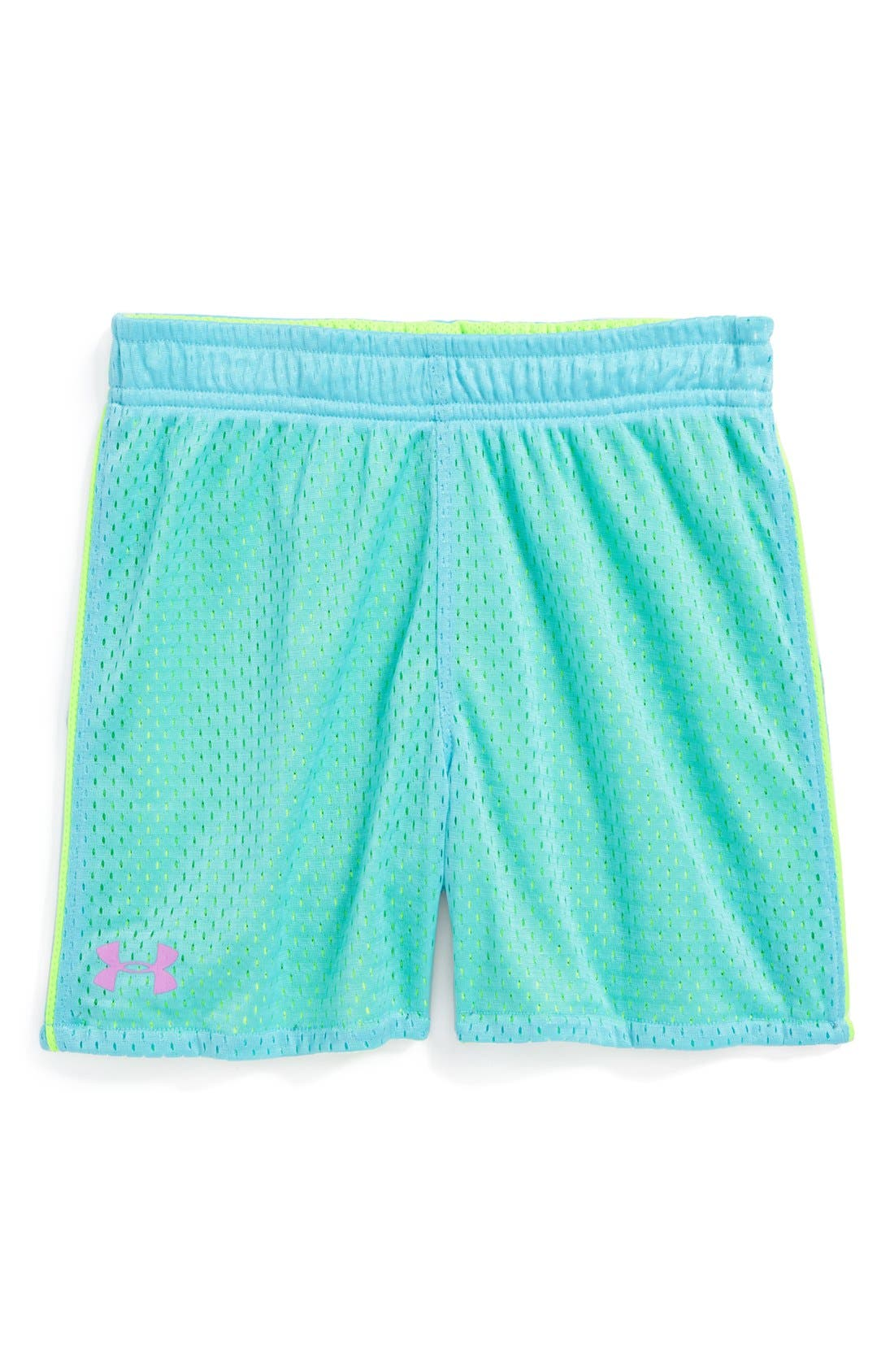 Main Image - Under Armour Reversible Mesh Shorts (Little Girls)