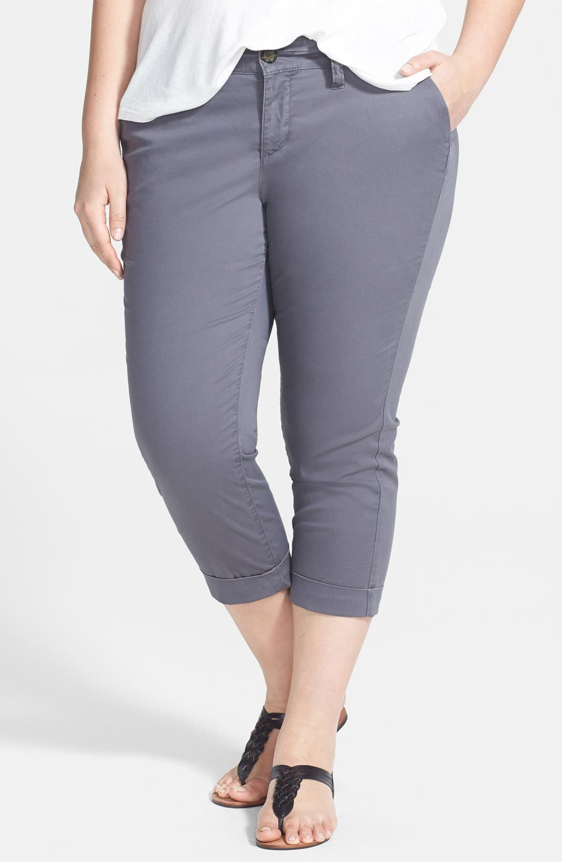 Alternate Image 1 Selected - Jag Jeans 'Cora' Cuff Stretch Twill Crop Chinos (Plus Size)