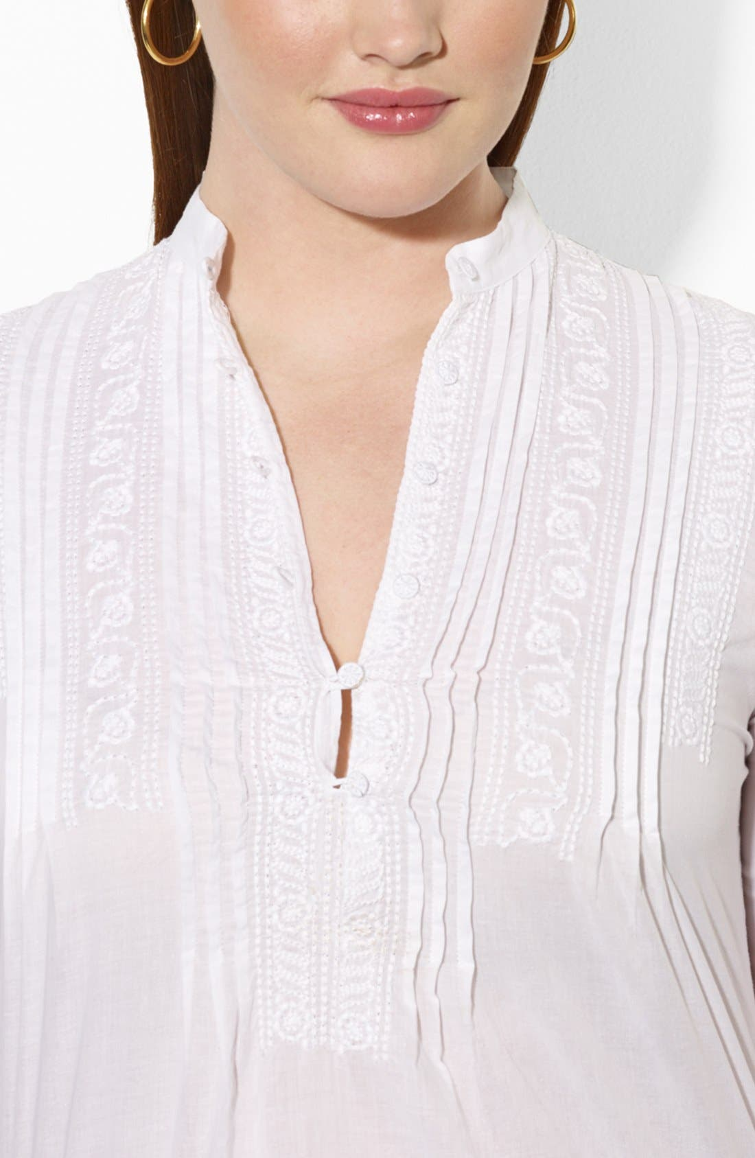 Alternate Image 3  - Lauren Ralph Lauren Embroidered Blouse (Plus Size)